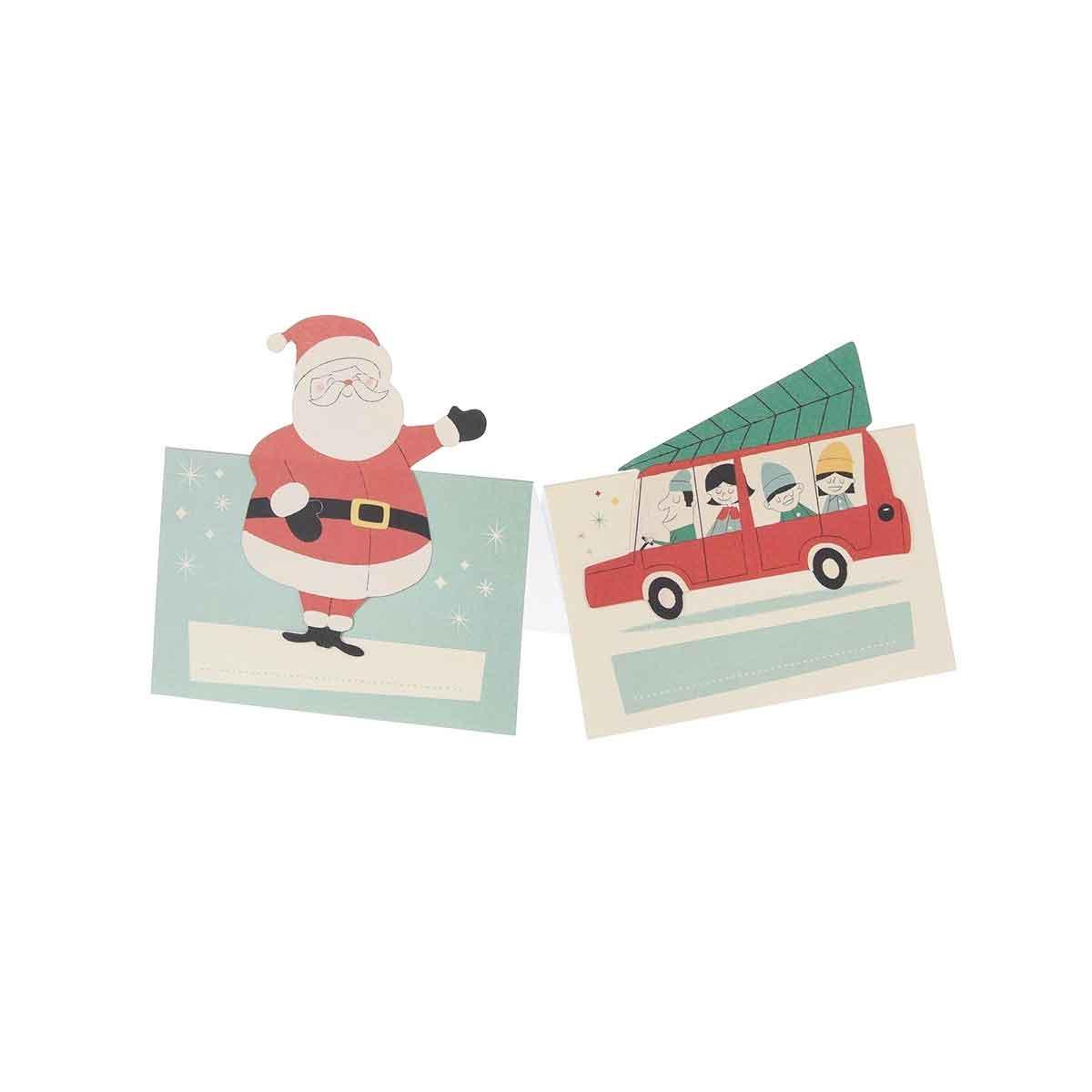 6 marques places de noël en carton avec motifs de Noël