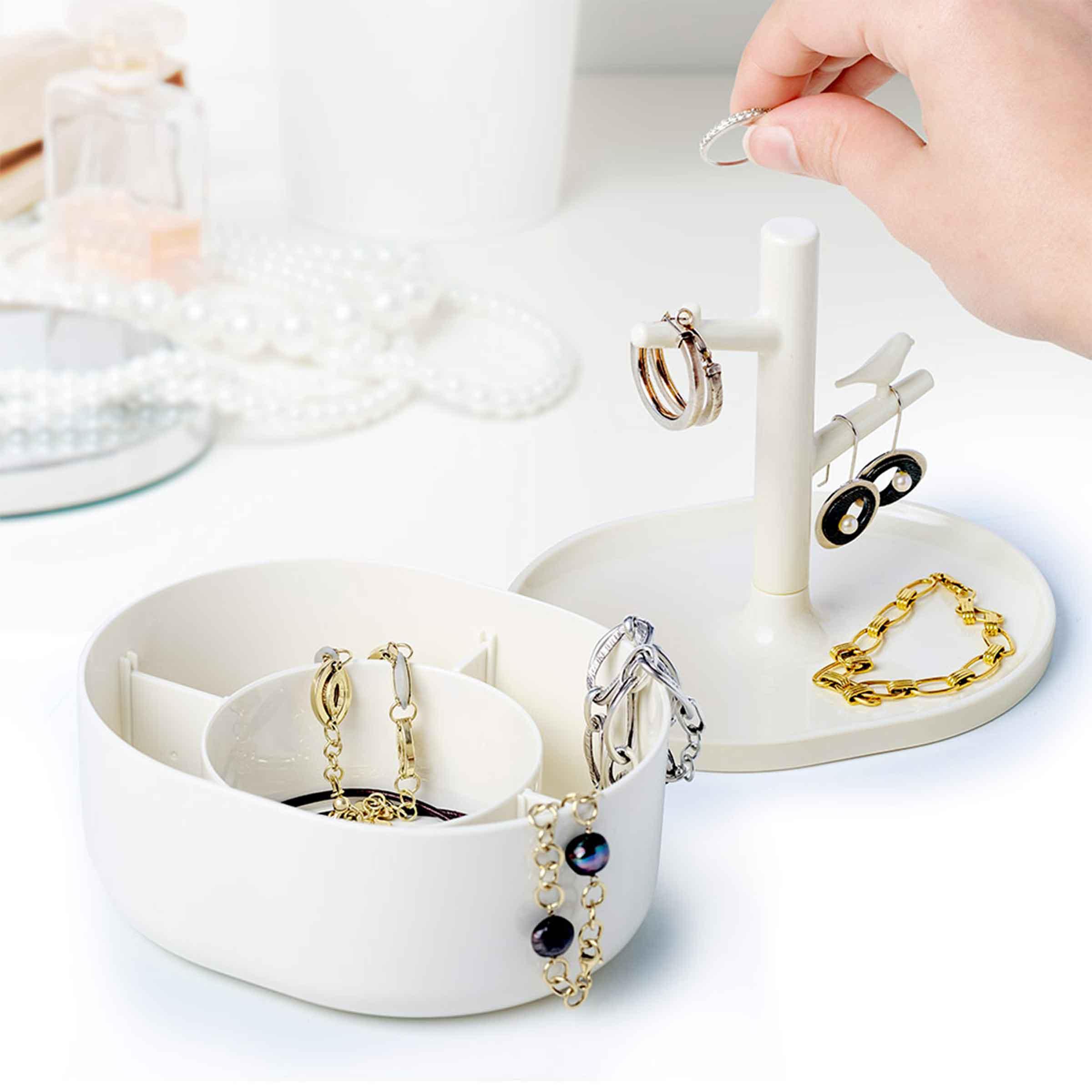 Boîte de rangement pour bijoux en forme d'arbre blanc