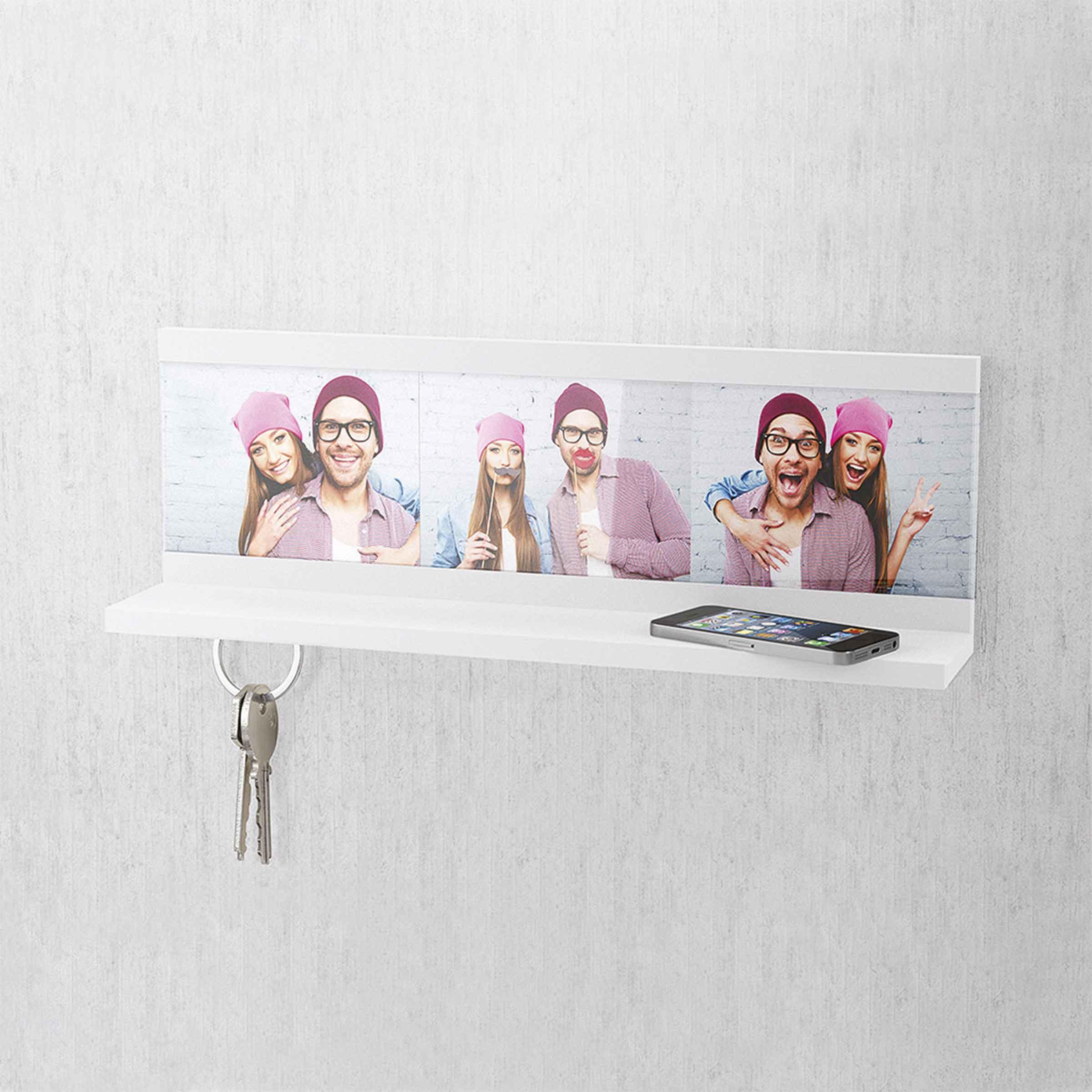 étagère murale en bois aggloméré blanc avec 3 aimants puissants sous l'étagère