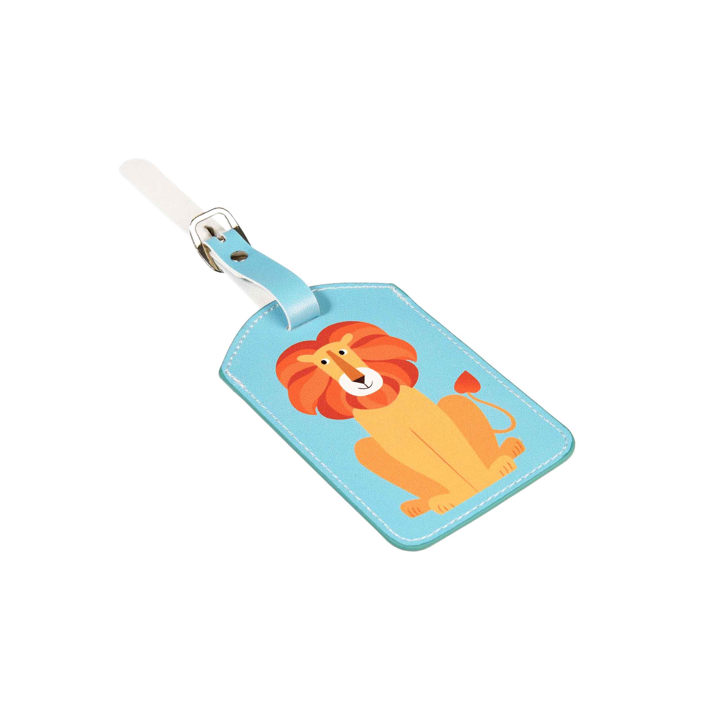 Porte-étiquette à bagage bleu ciel avec un lion