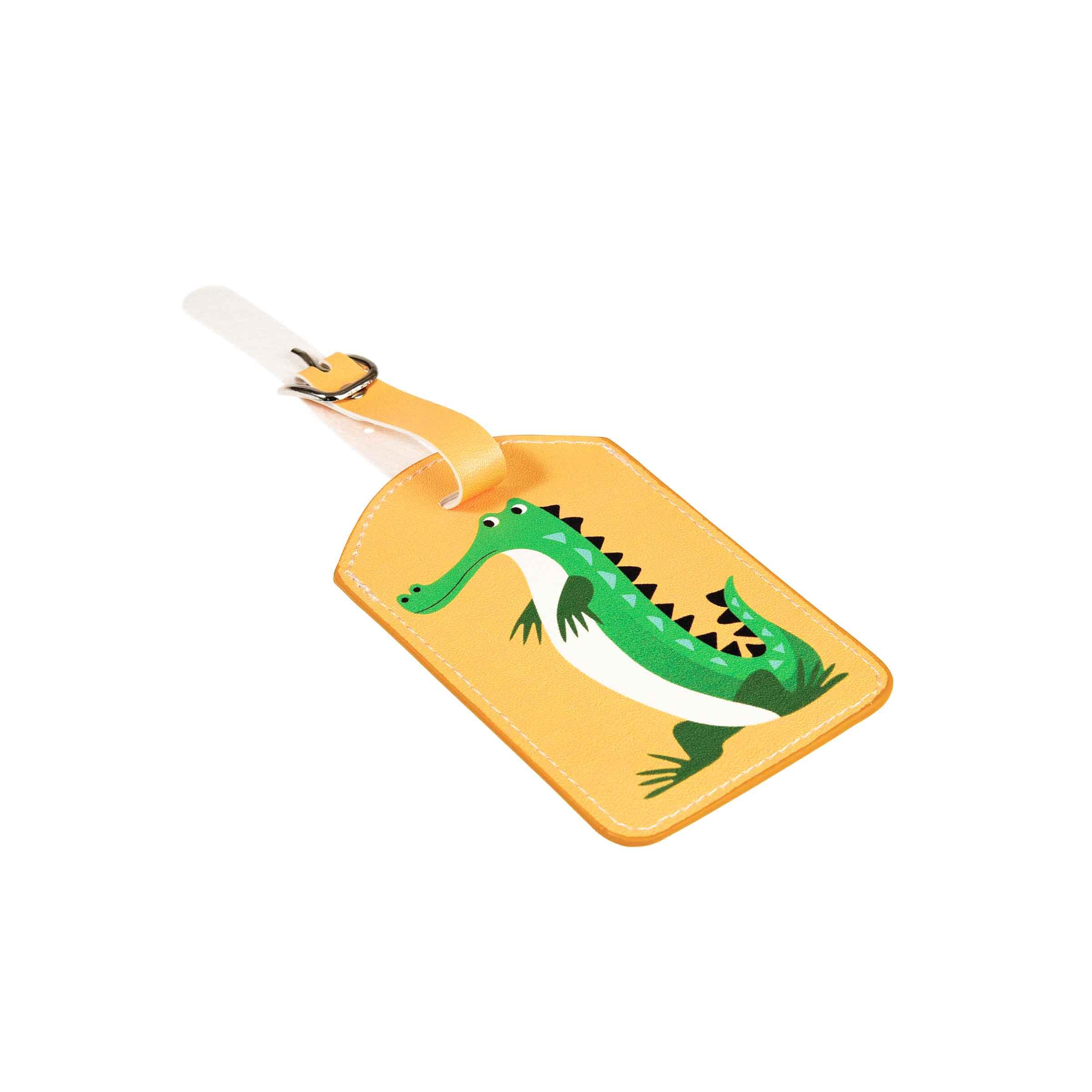 Porte-étiquette en simili cuir jaune avec un crocodile