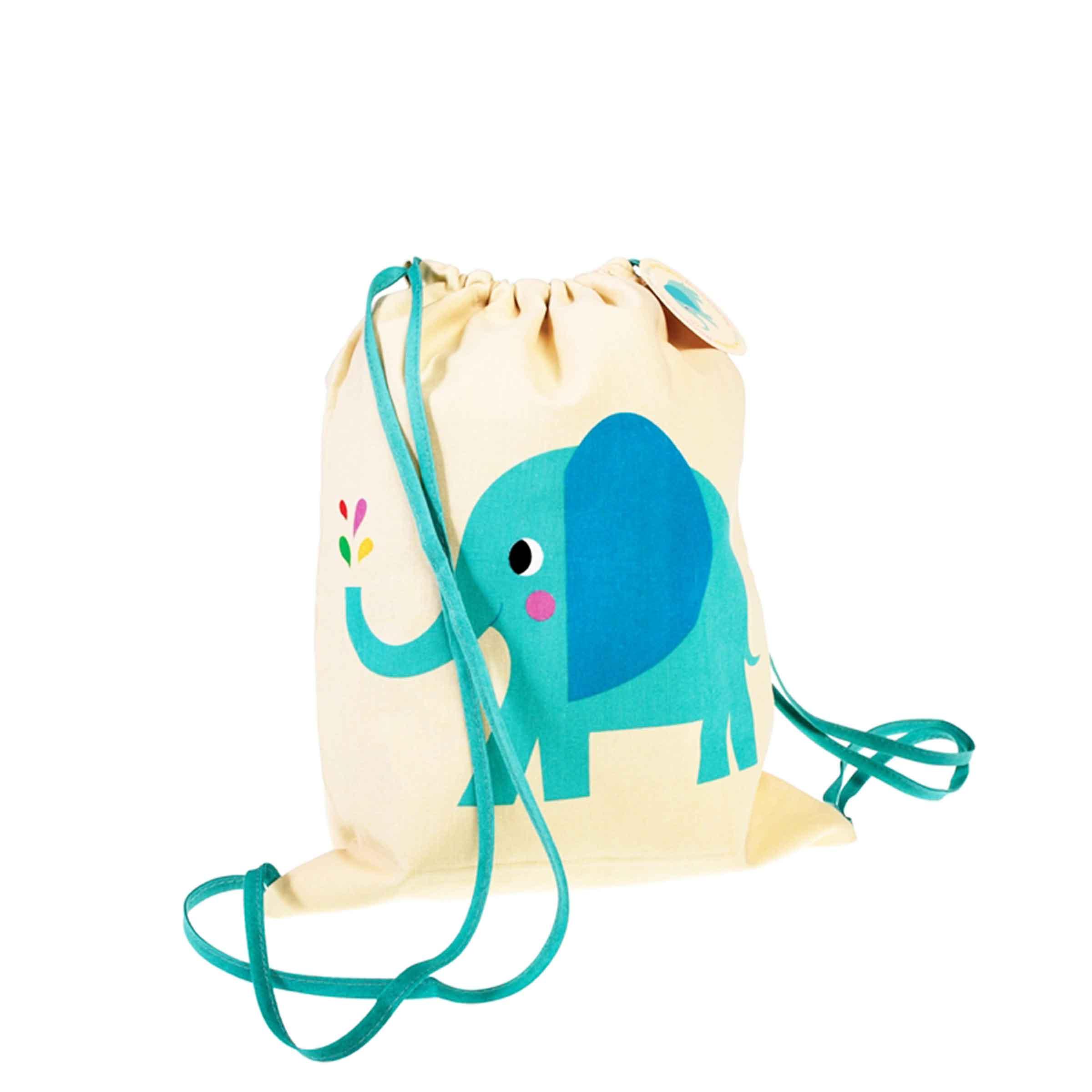 Sac à dos pour enfant en tissu avec motif éléphant bleu