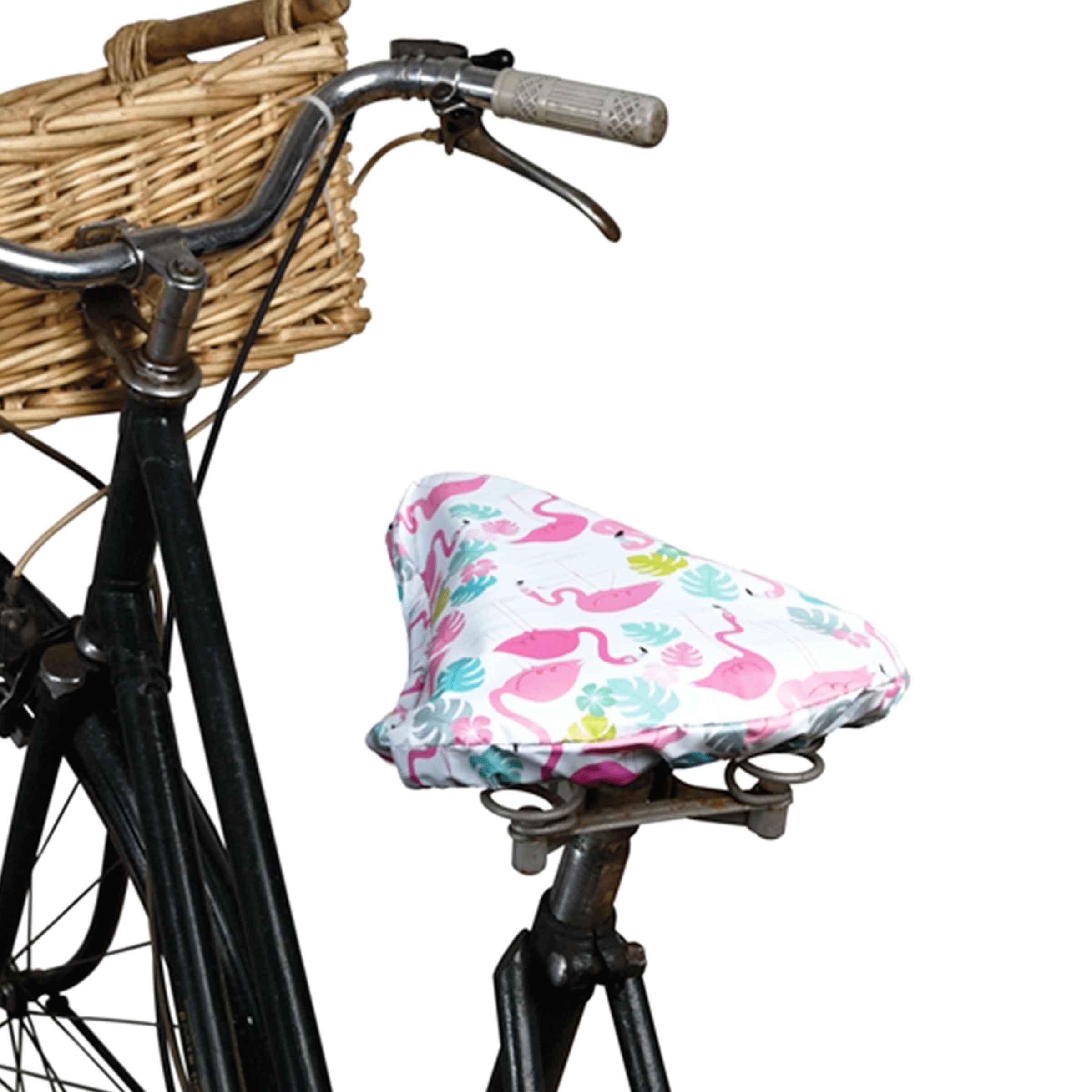 Housse de protection en plastique pour selle de vélo avec motifs flamants roses