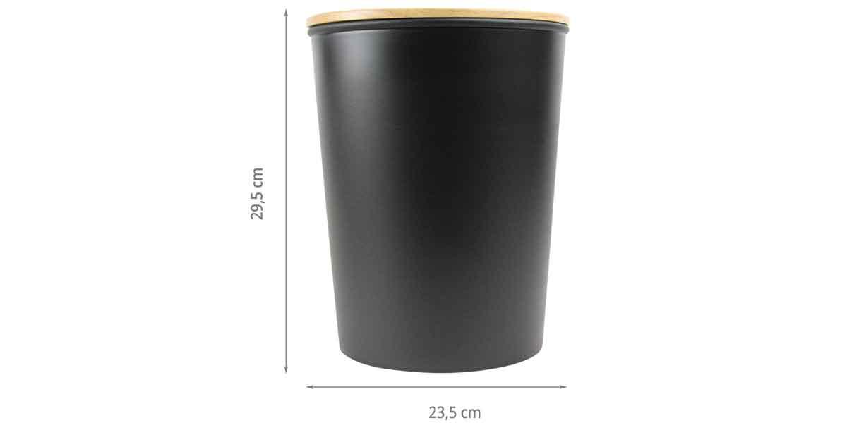 Dimensions de la poubelle en plastique noir et bois d'hévéa