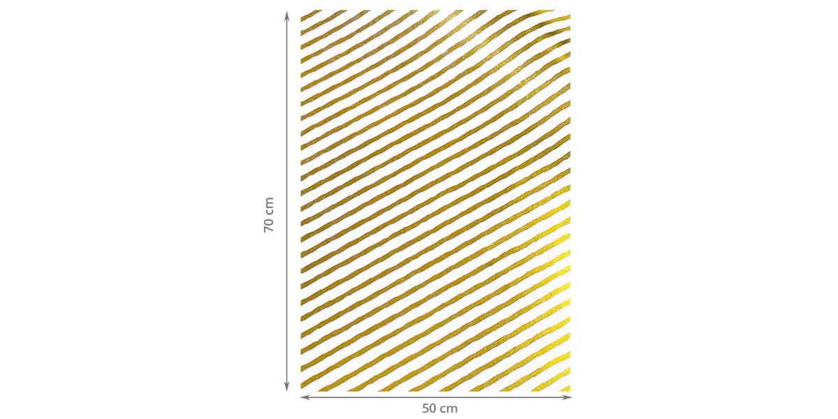 Dimensions du papier cadeau rayé blanc et or