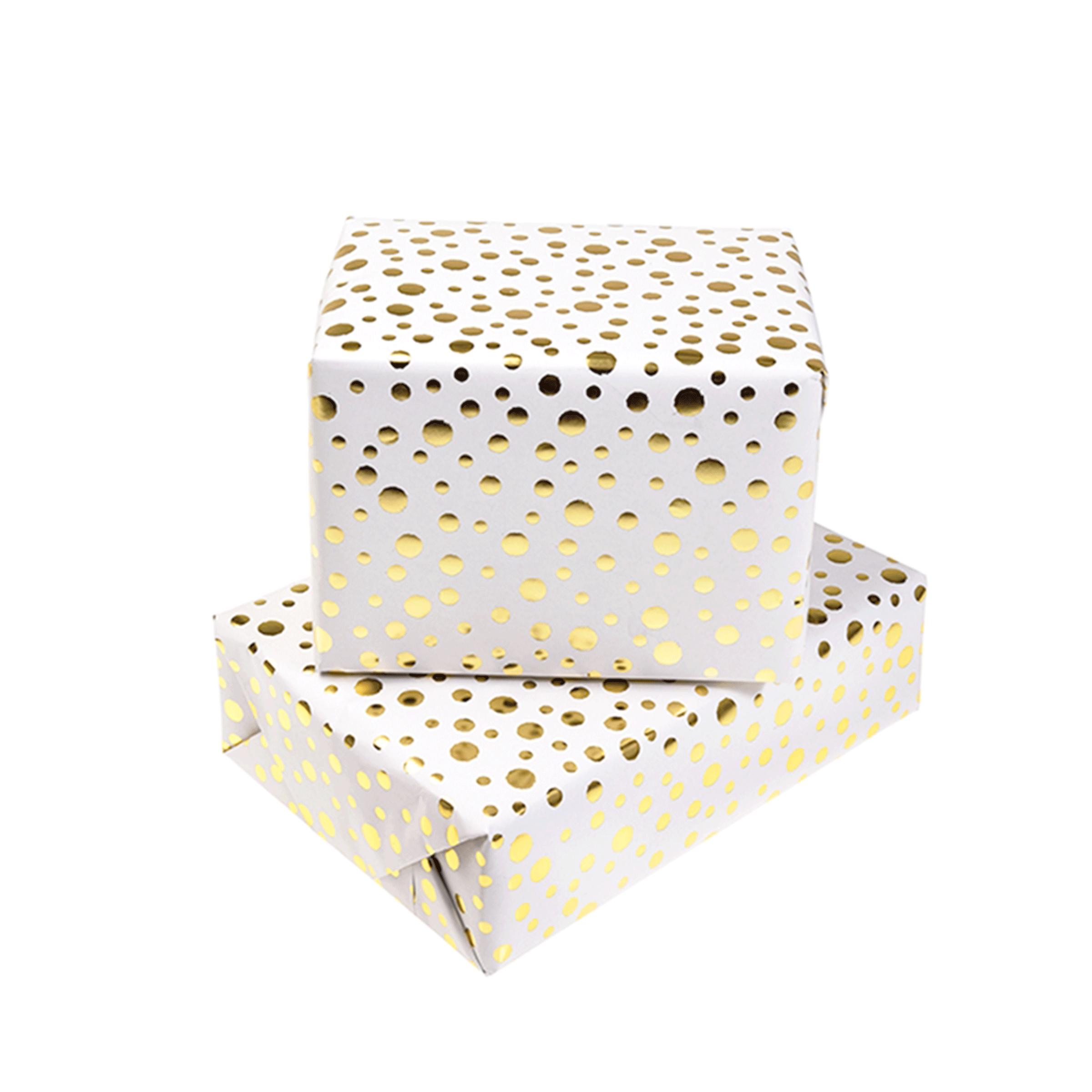 Papier cadeau blanc avec des pois dorés