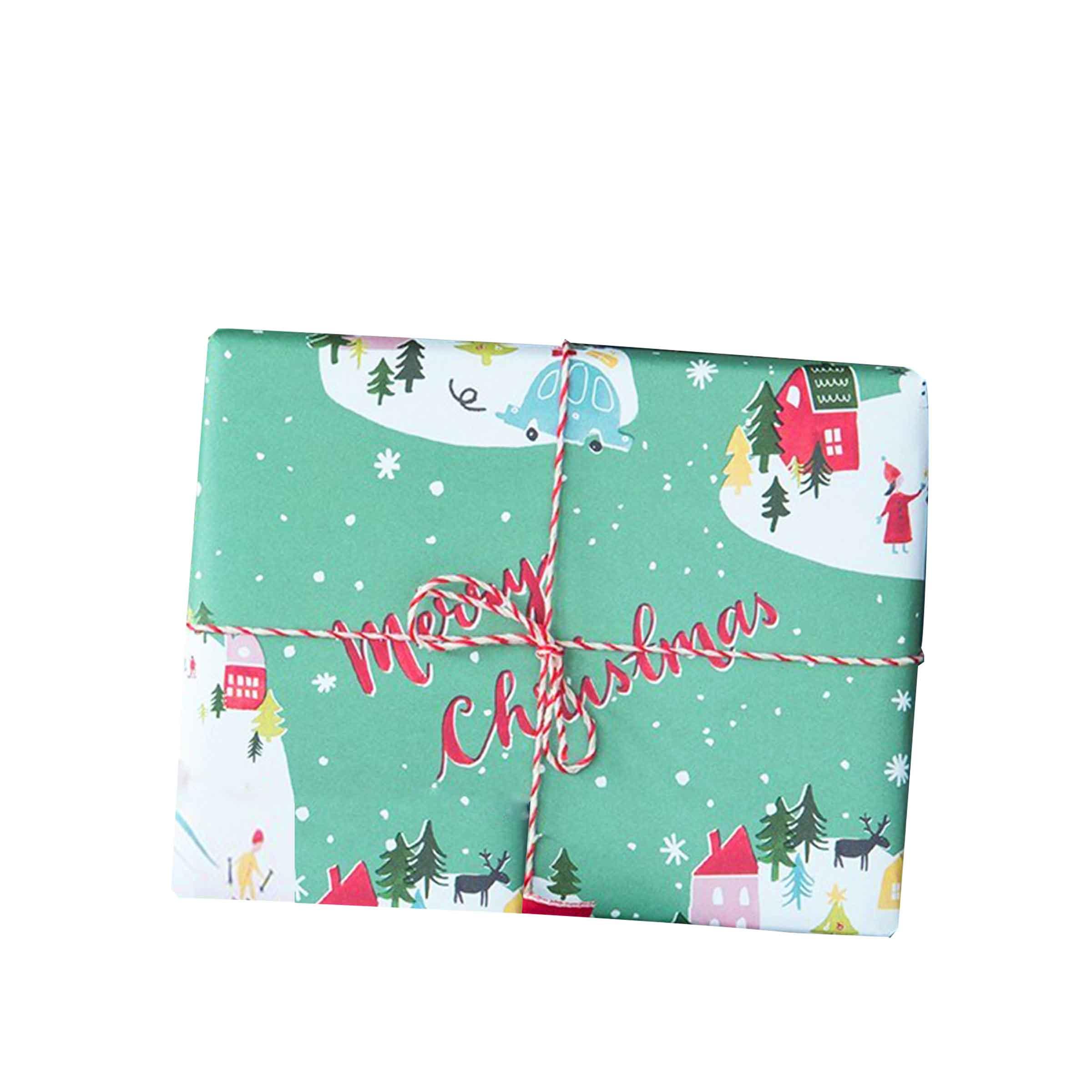 feuille de papier cadeau motif hiver noël sur fond vert