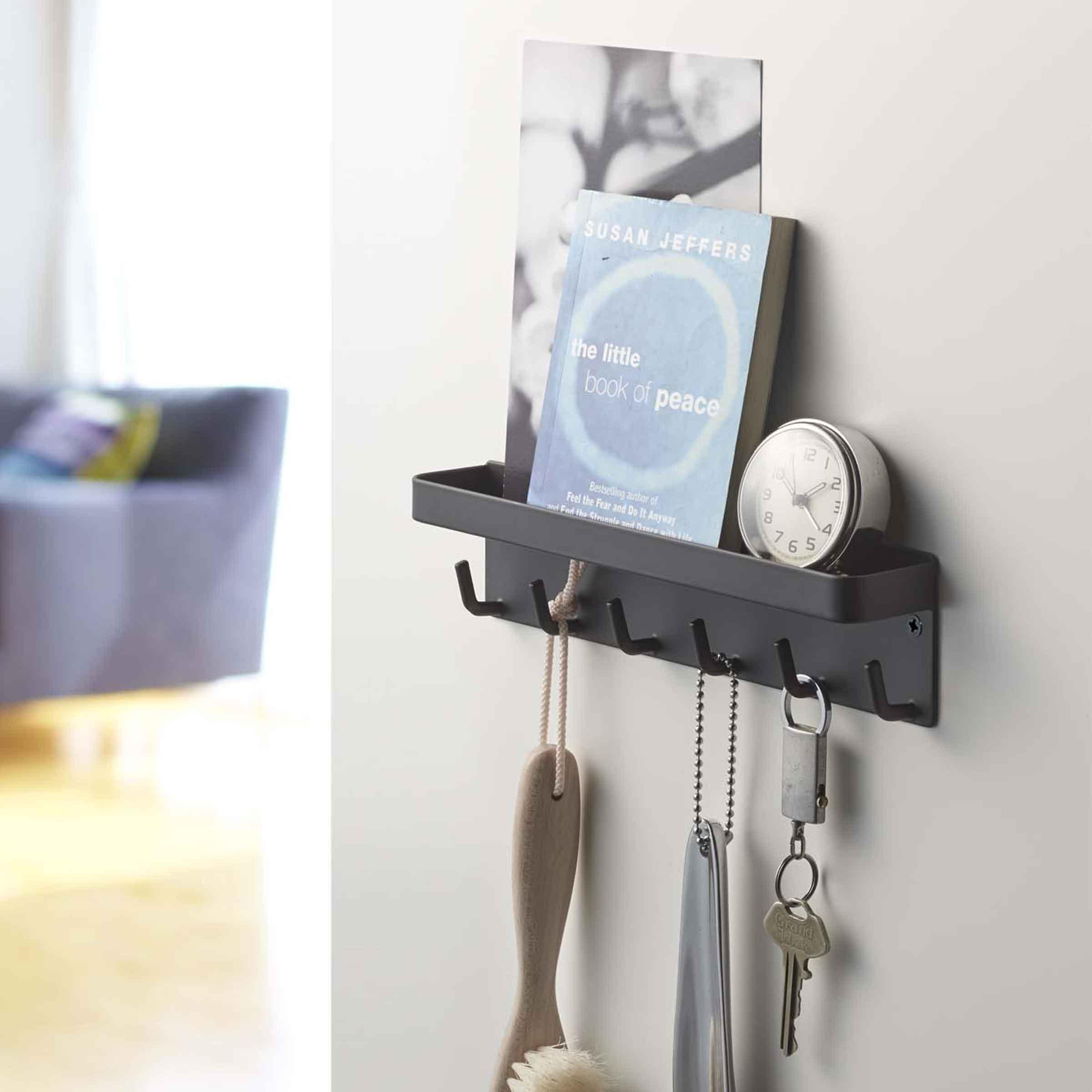 Rangement pour clés et vide poche mural noir avec crochets et surface magnétique