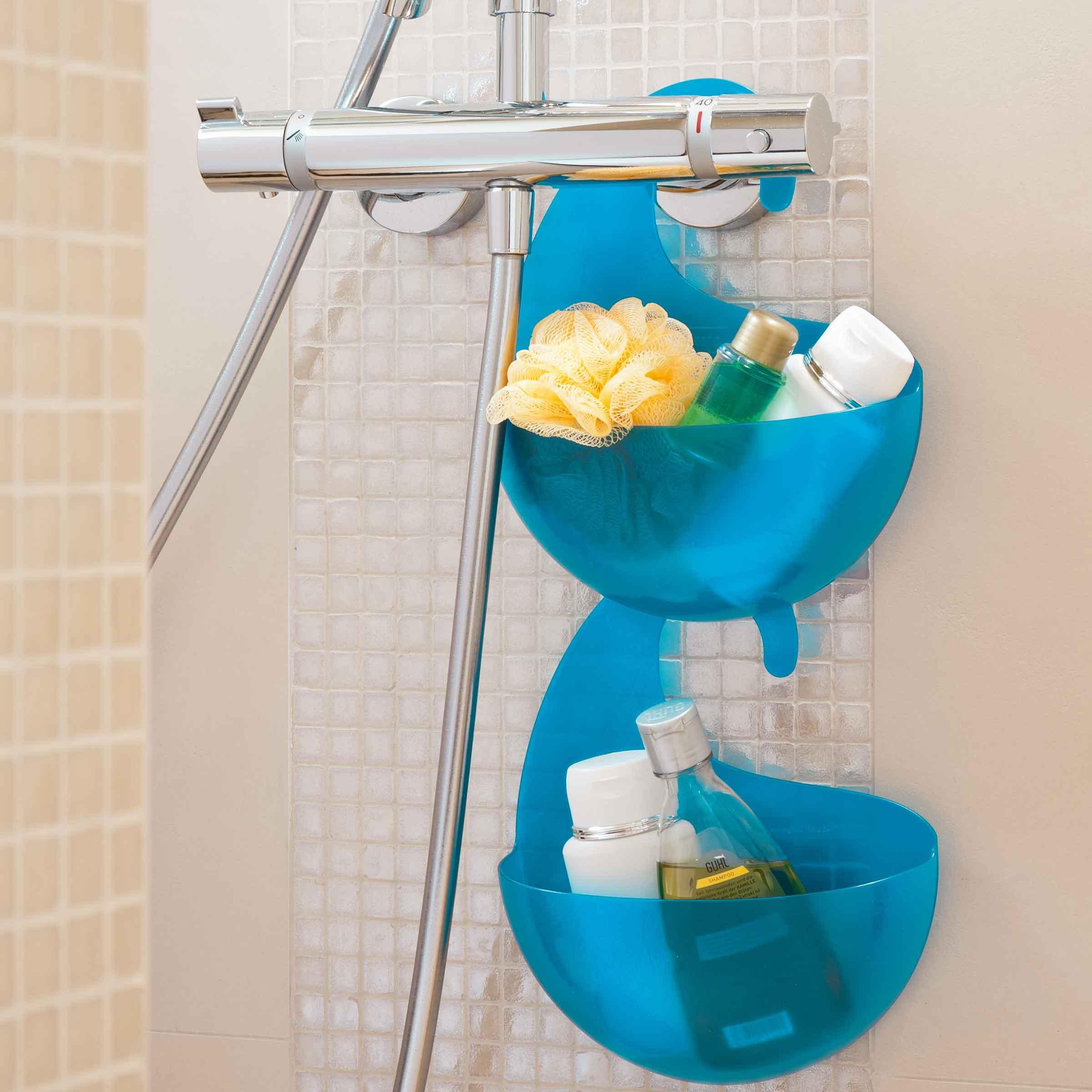 Bac en plastique bleu vert à suspendre avec accroche pour sale de bain