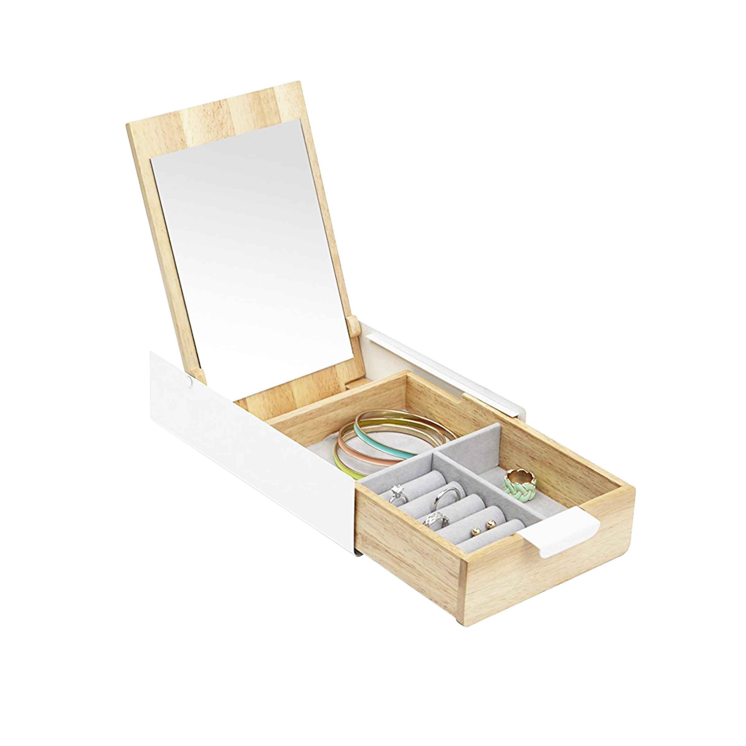 Coffret à bijoux coiffeuse en bois clair et en métal laqué blanc avec 3 compartiments intérieurs