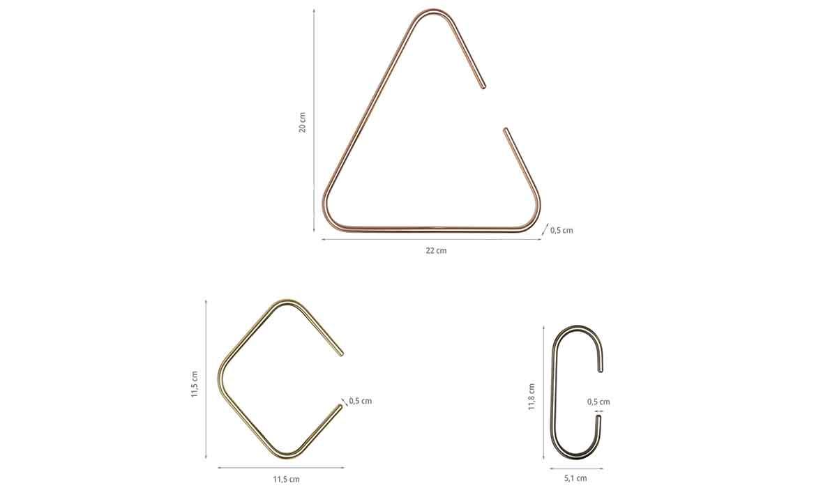 Dimensions des 3 crochets en métal coloré
