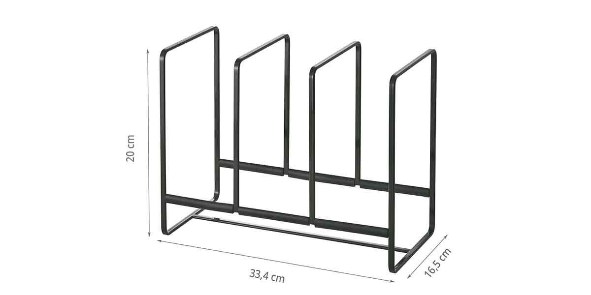 Dimensions du range assiettes en métal peint en noir laqué