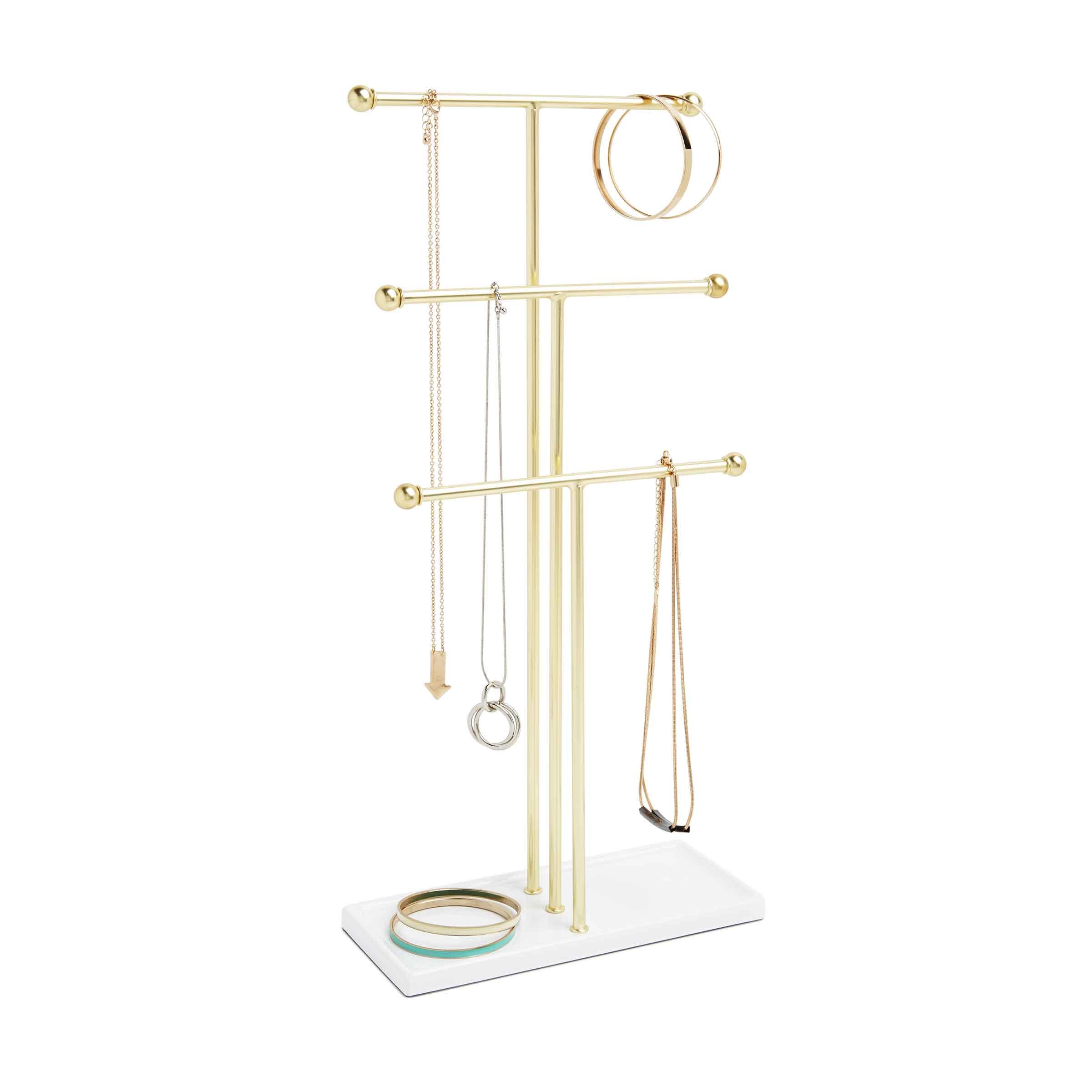Présentoir à bijoux à 6 branches en métal doré avec socle en plastique blanc brillant