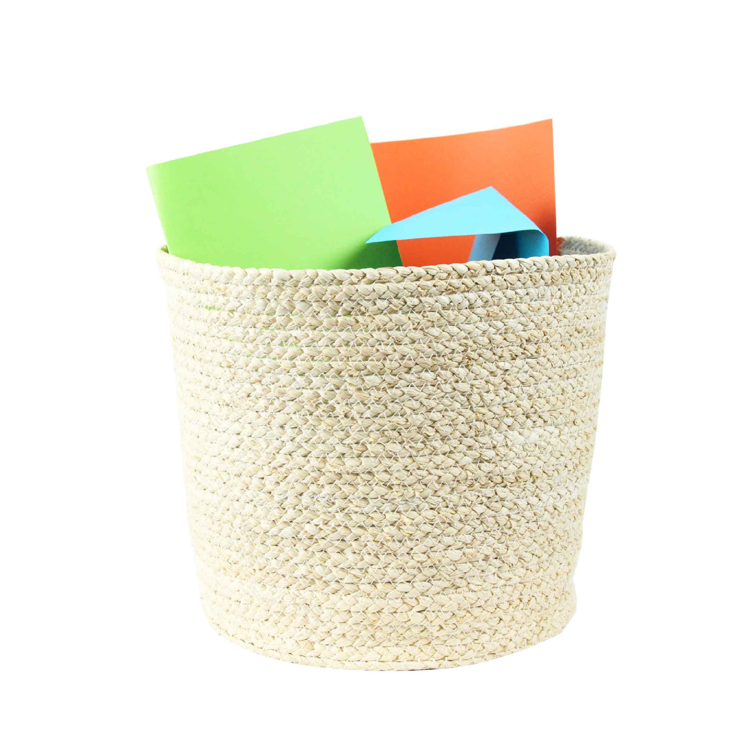 Corbeille à papier en fibre de maïs souple couleur naturelle