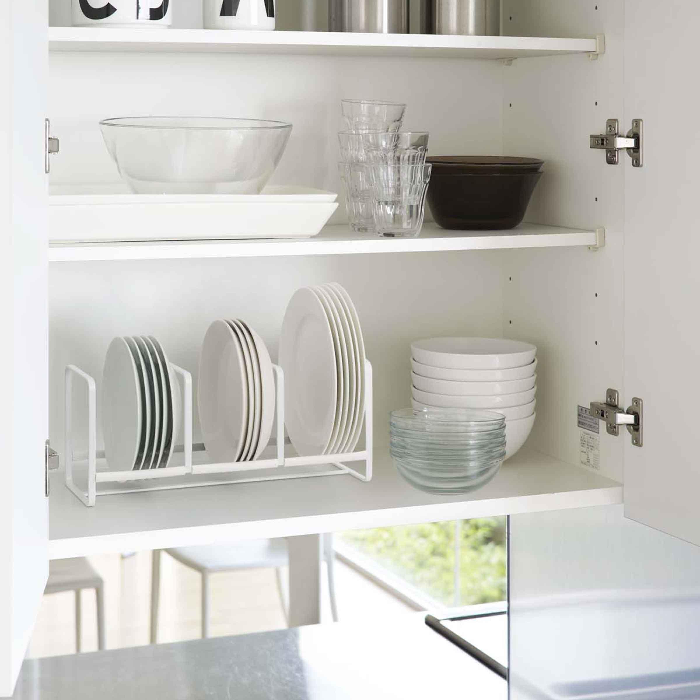 Support de rangement en acier blanc pour petites assiettes