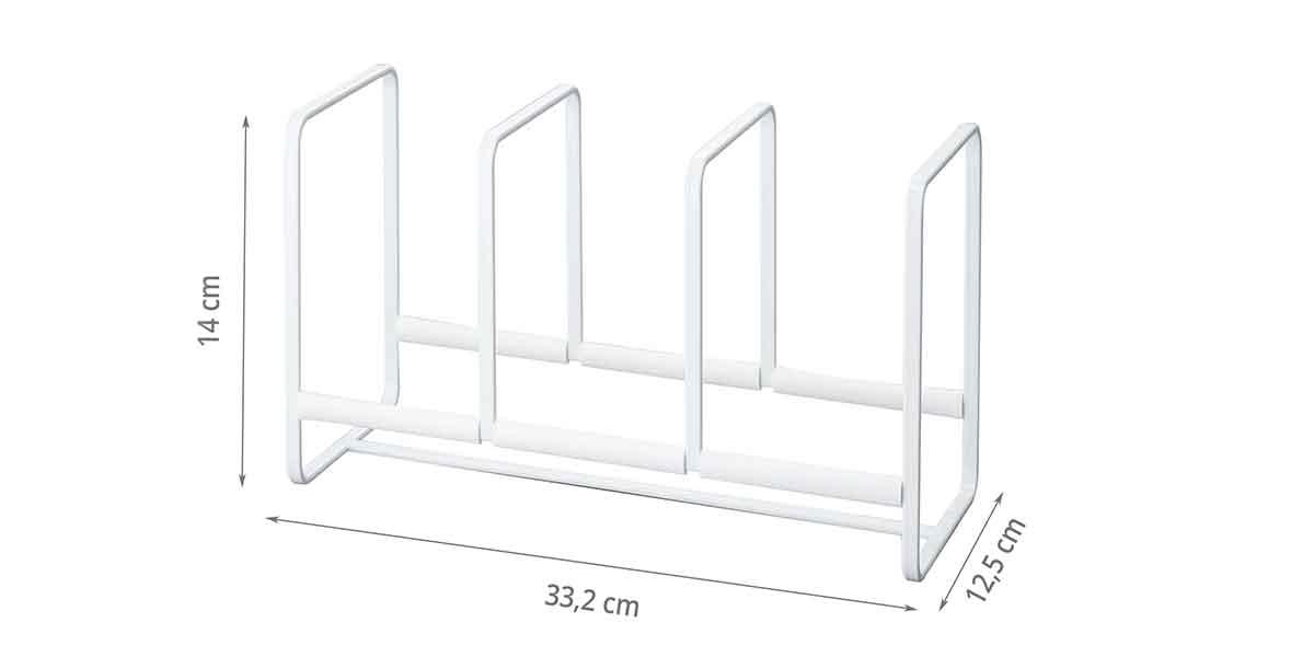 Dimensions du range assiettes en métal peint en blanc laqué