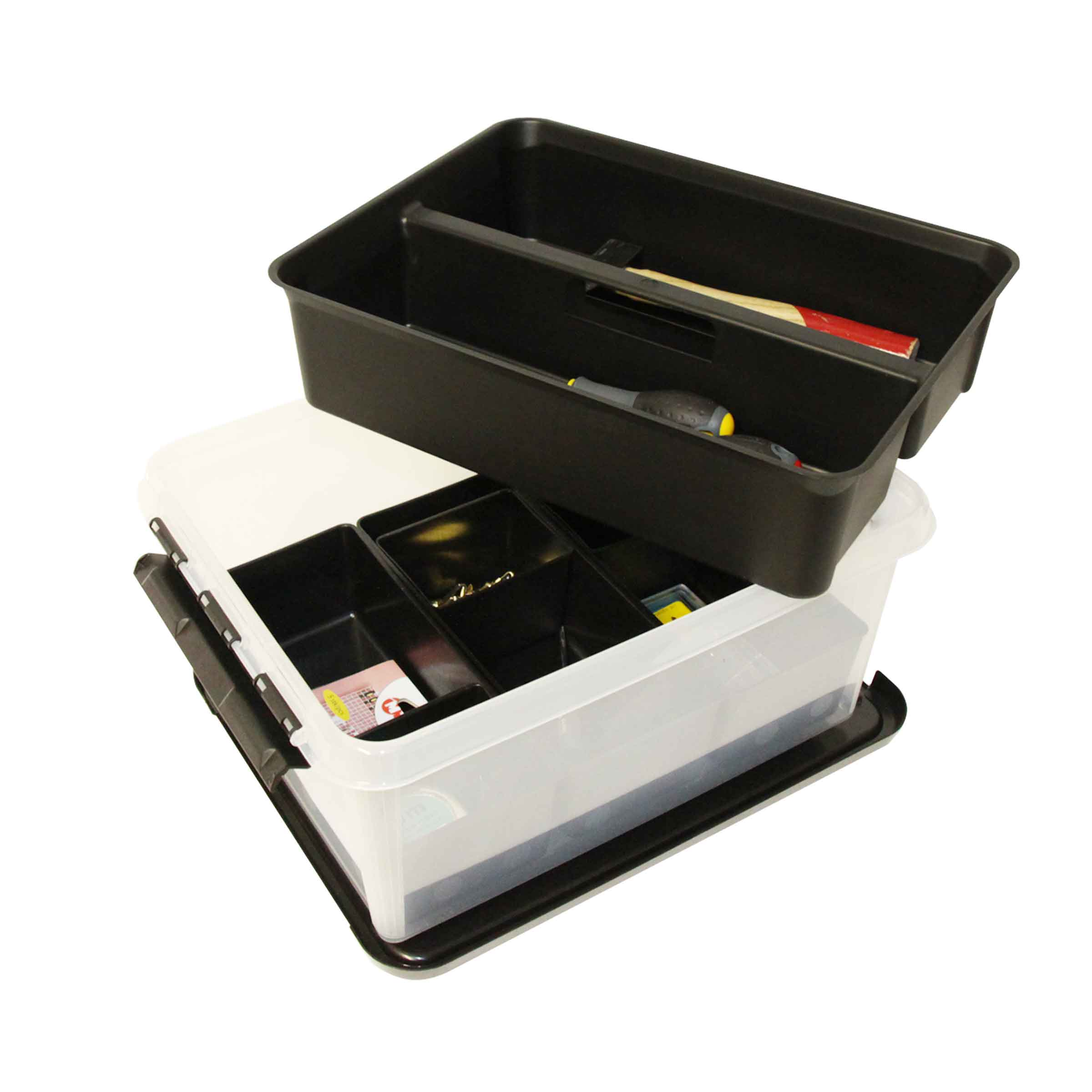 Boîte à outils en plastique avec 2 étages compartimentés