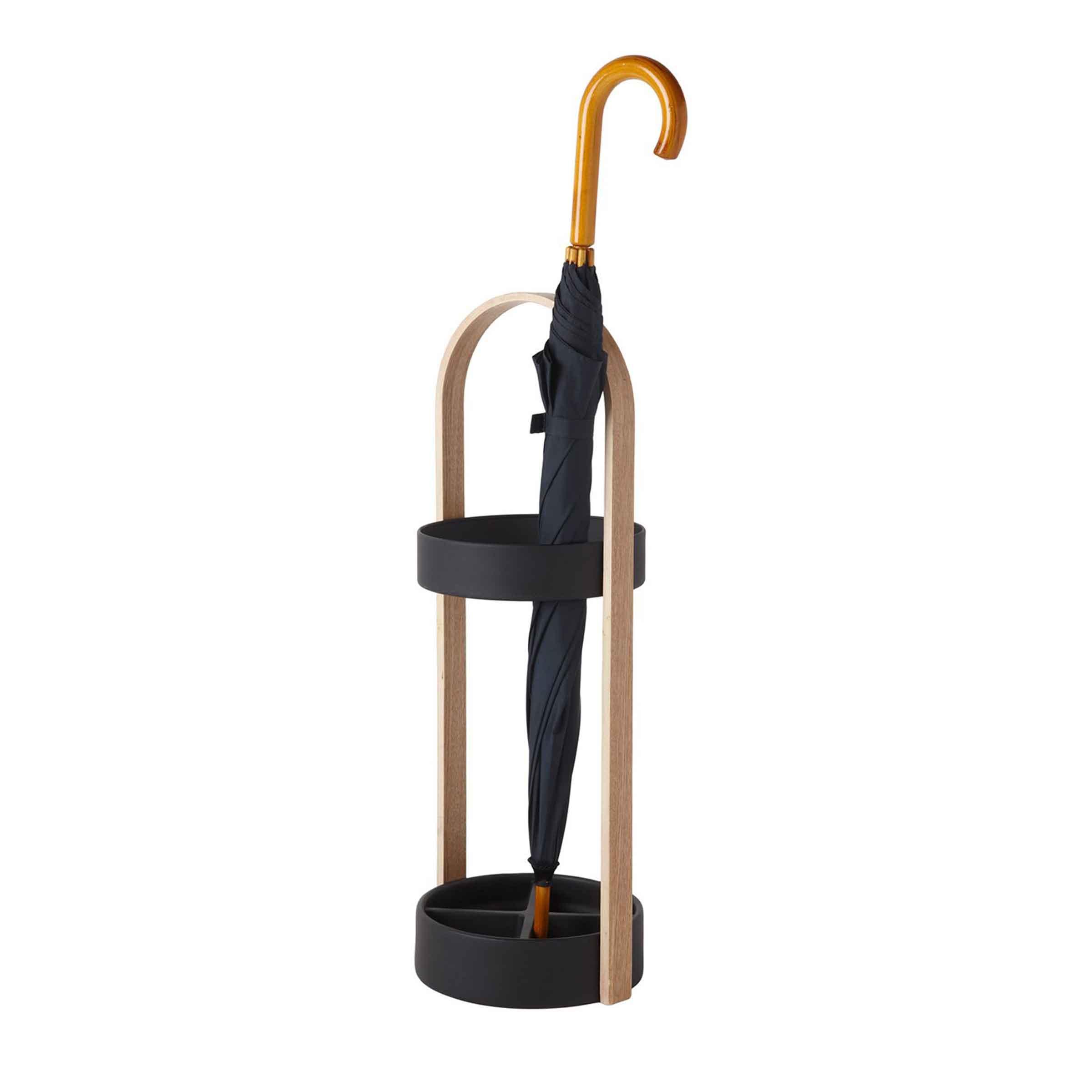 Porte-parapluie noir en résine et bois