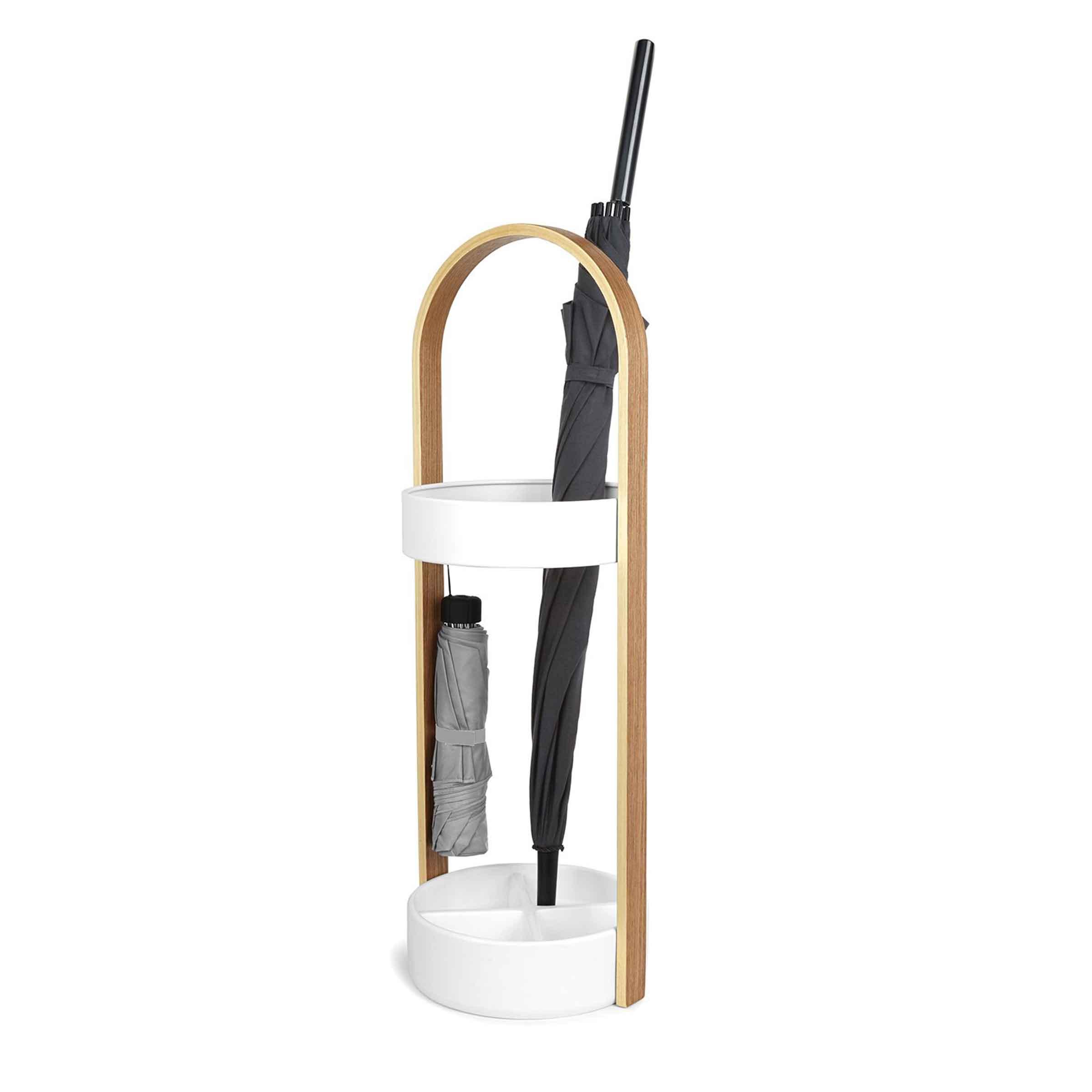 Porte-parapluie blanc en résine et bois clair