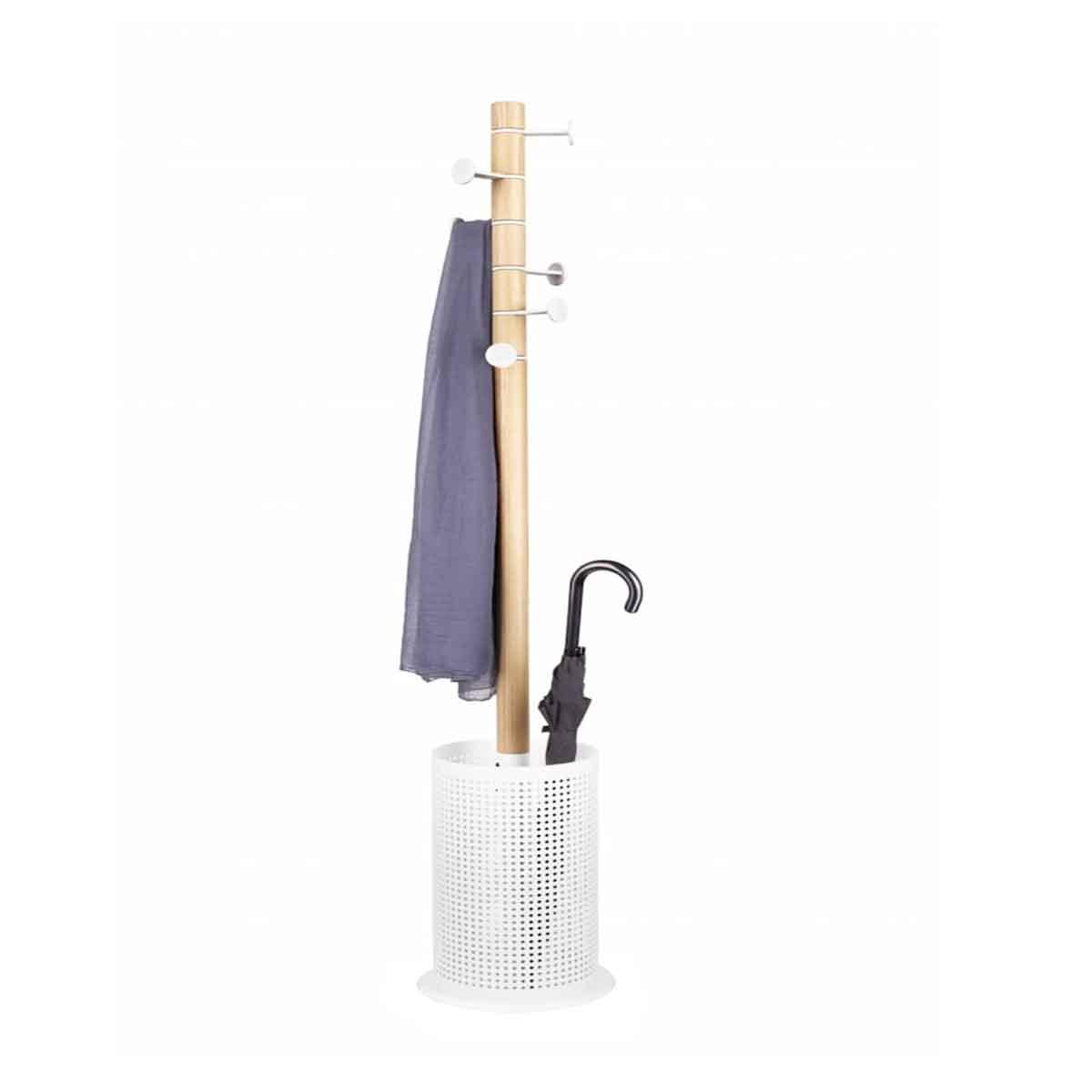 porte-manteau porte-parapluie à poser en métal blanc et bois clair