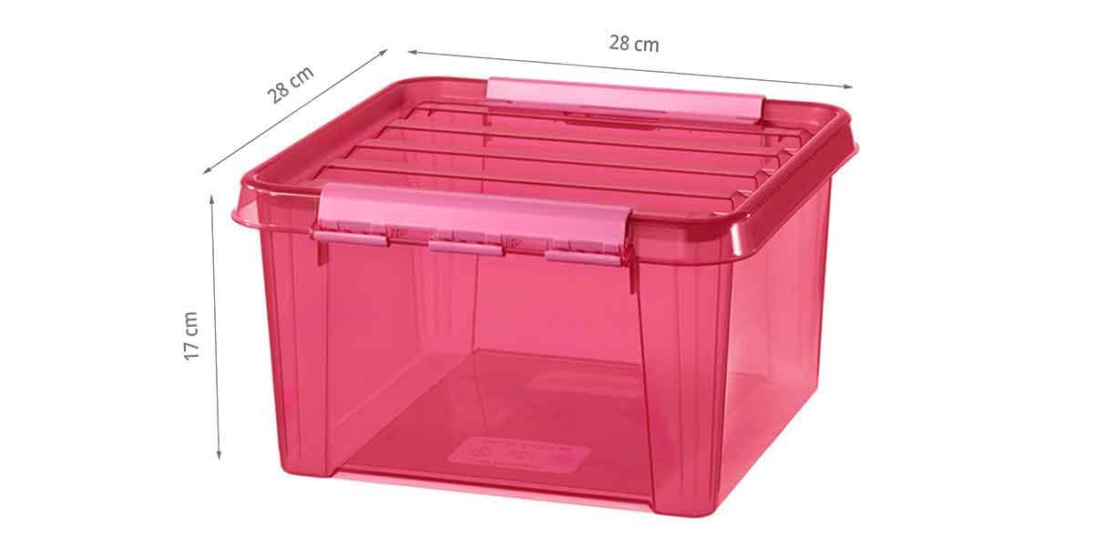 Dimensions de la boîte de rangement rose