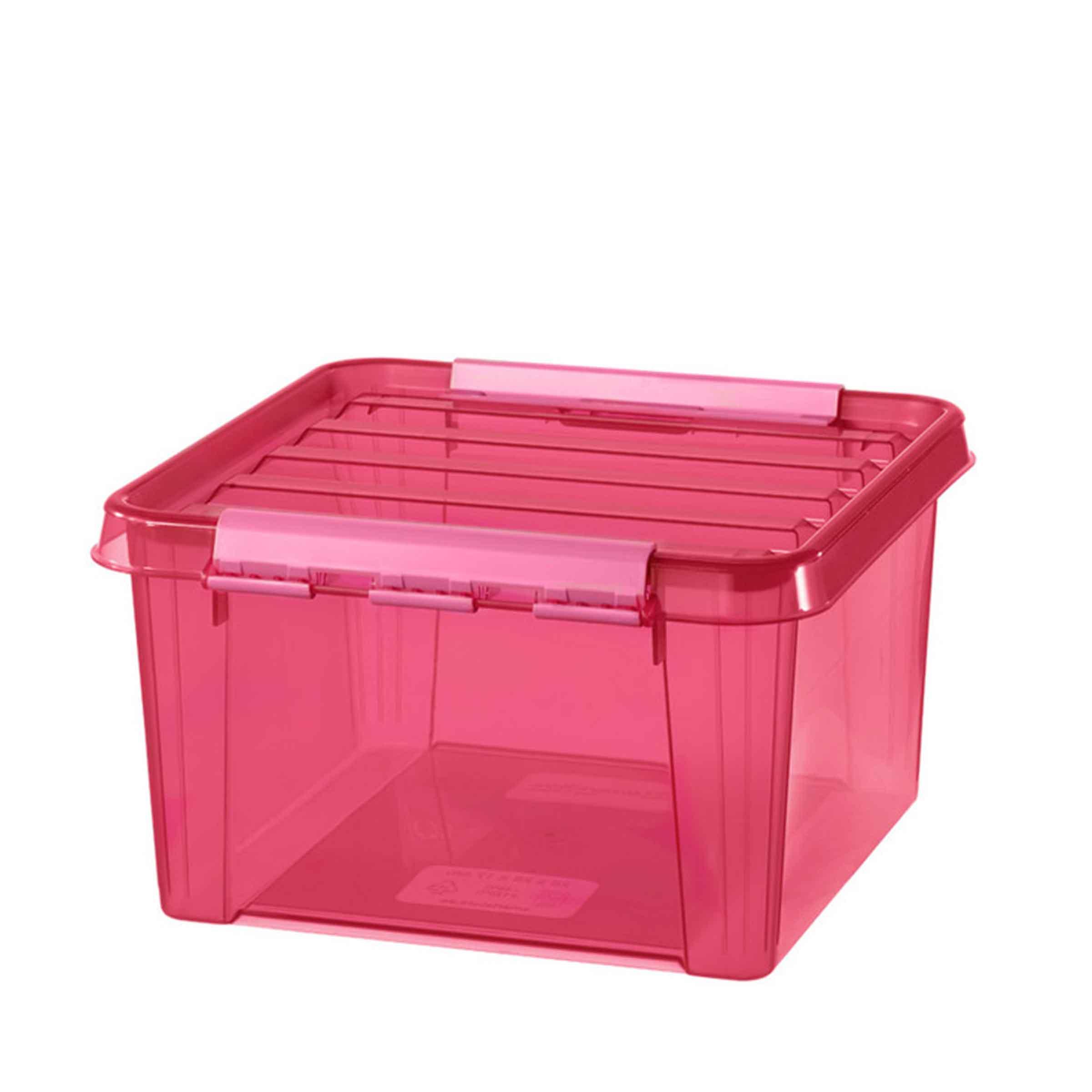 Caisse de rangement en plastique rose transparent