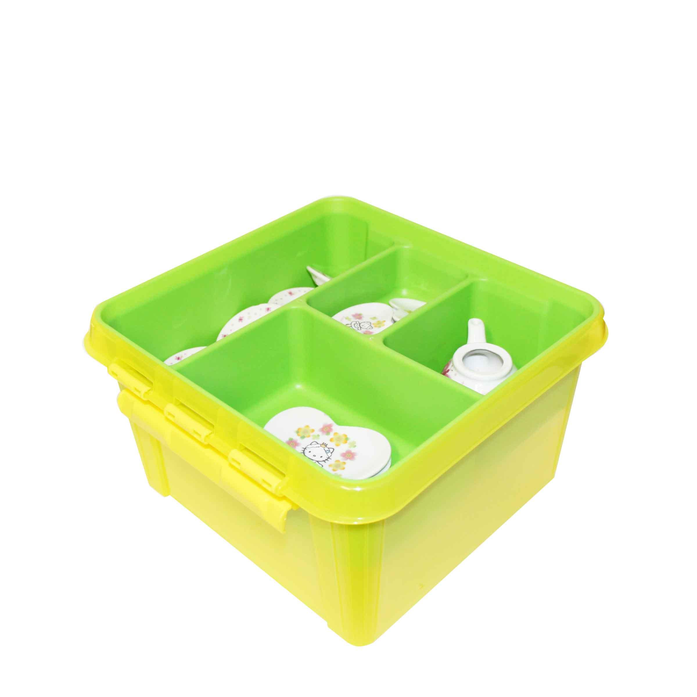 bac de rangement carrée en plastique transparent jaune avec compartiments en plasique vert