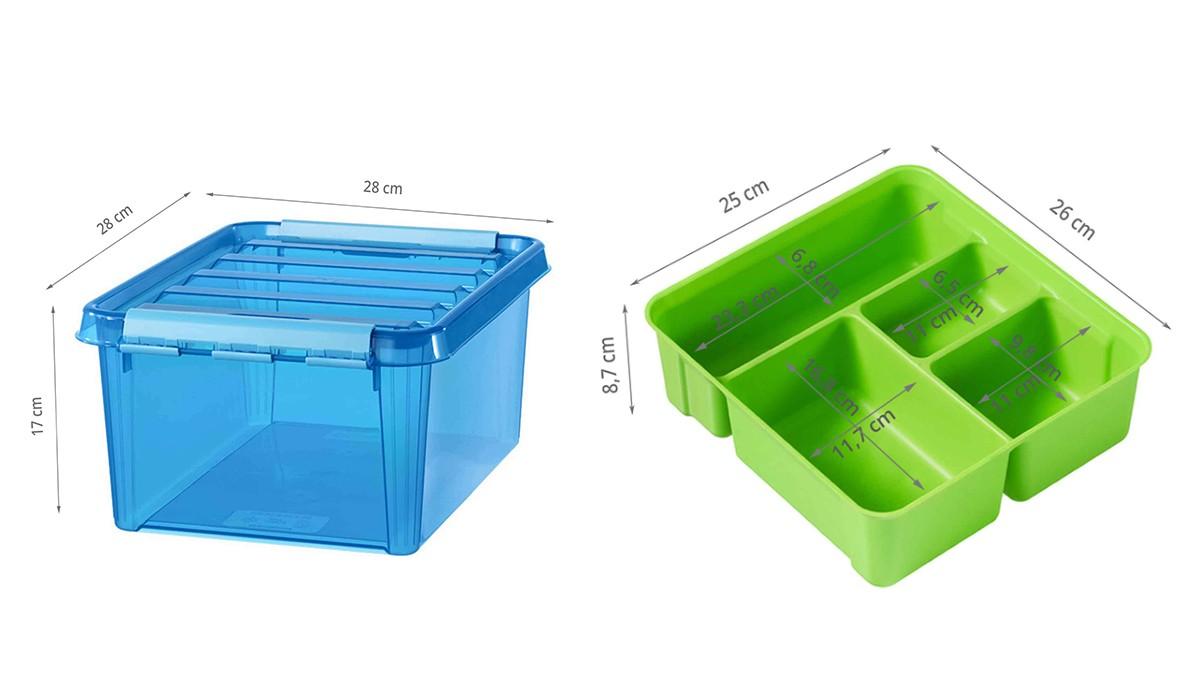 Bo te de rangement bleue compartiments verts - Boite de rangement verticale ...