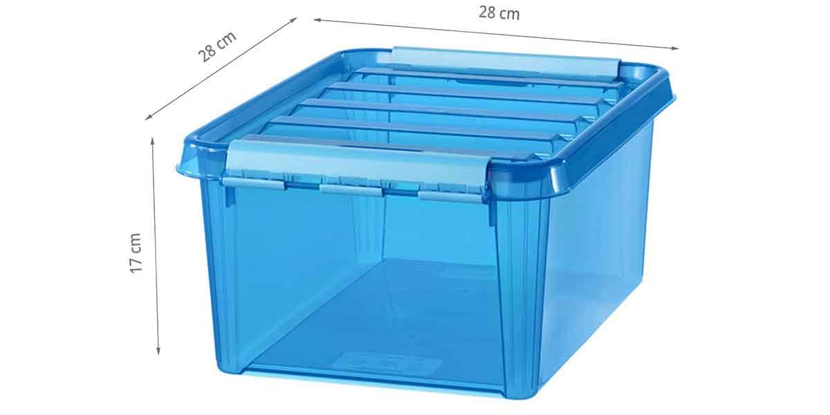 dimensions de la boîte en plastique bleu
