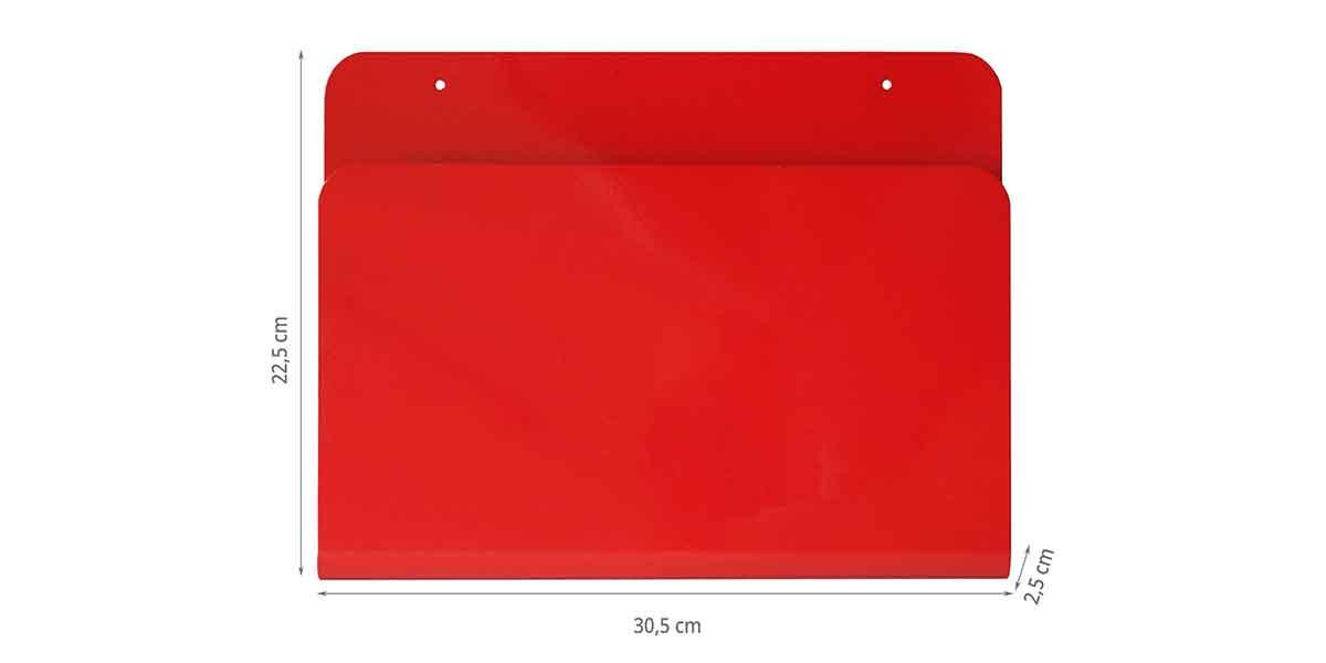 Dimensions du porte-revues mural en métal rouge