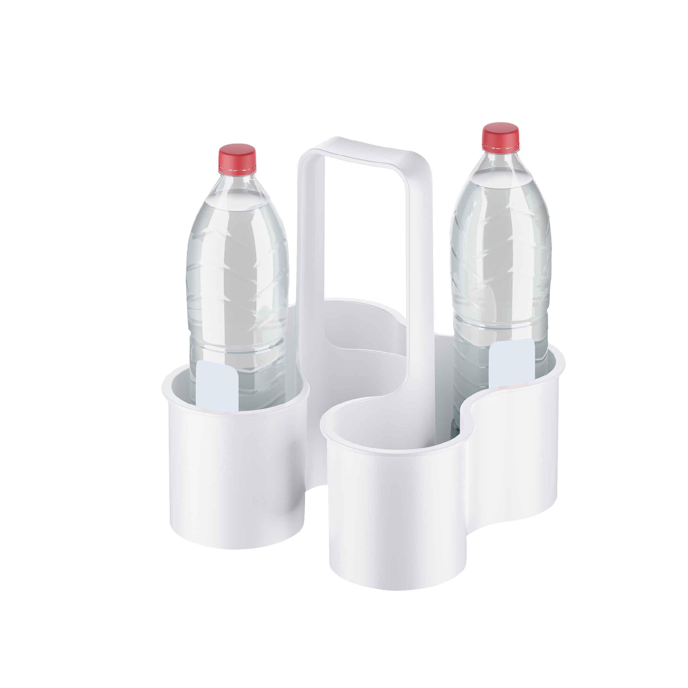 Panier à bouteilles en plastique blanc à 4 compartiments