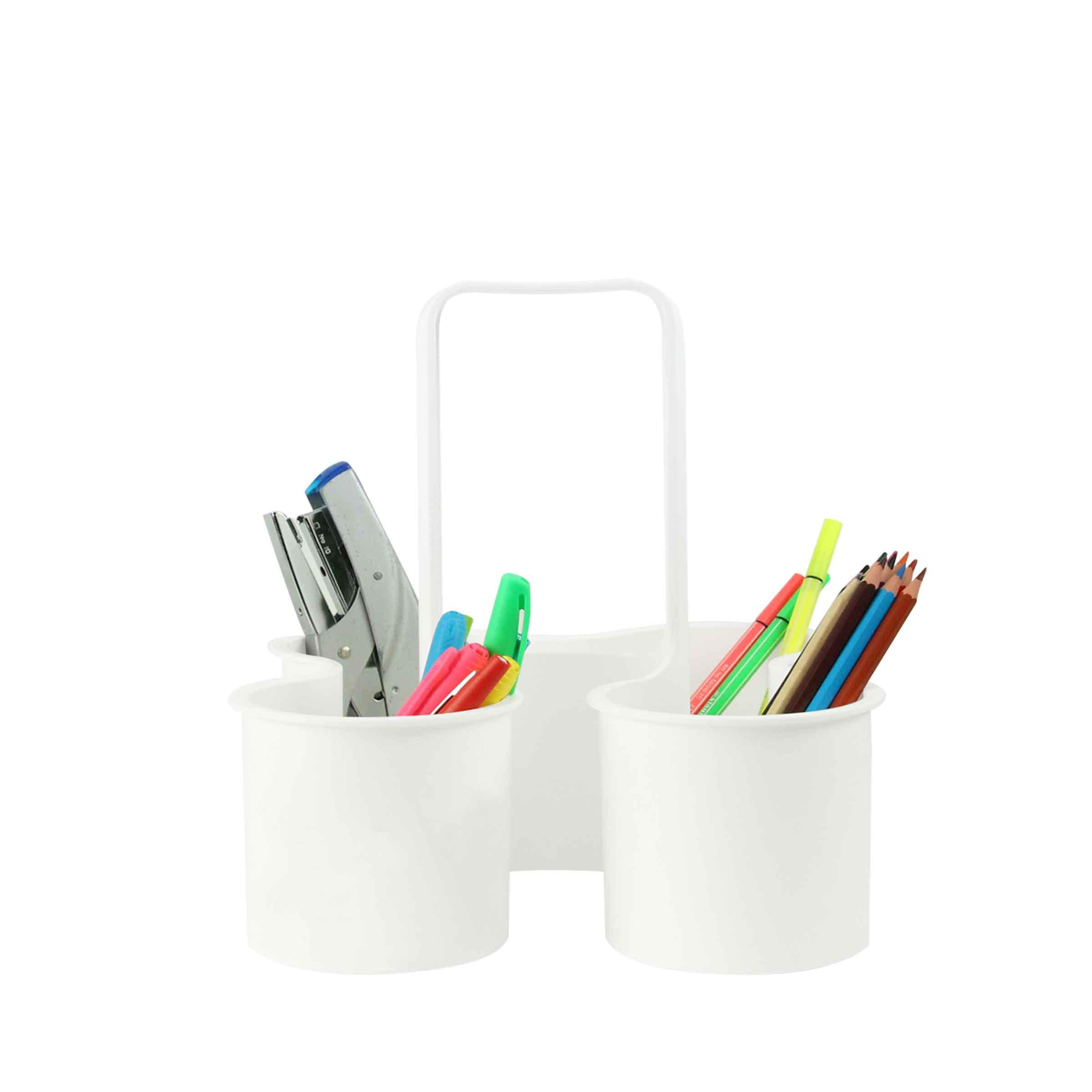 Panier en plastique blanc à 4 compartiments avec poignée