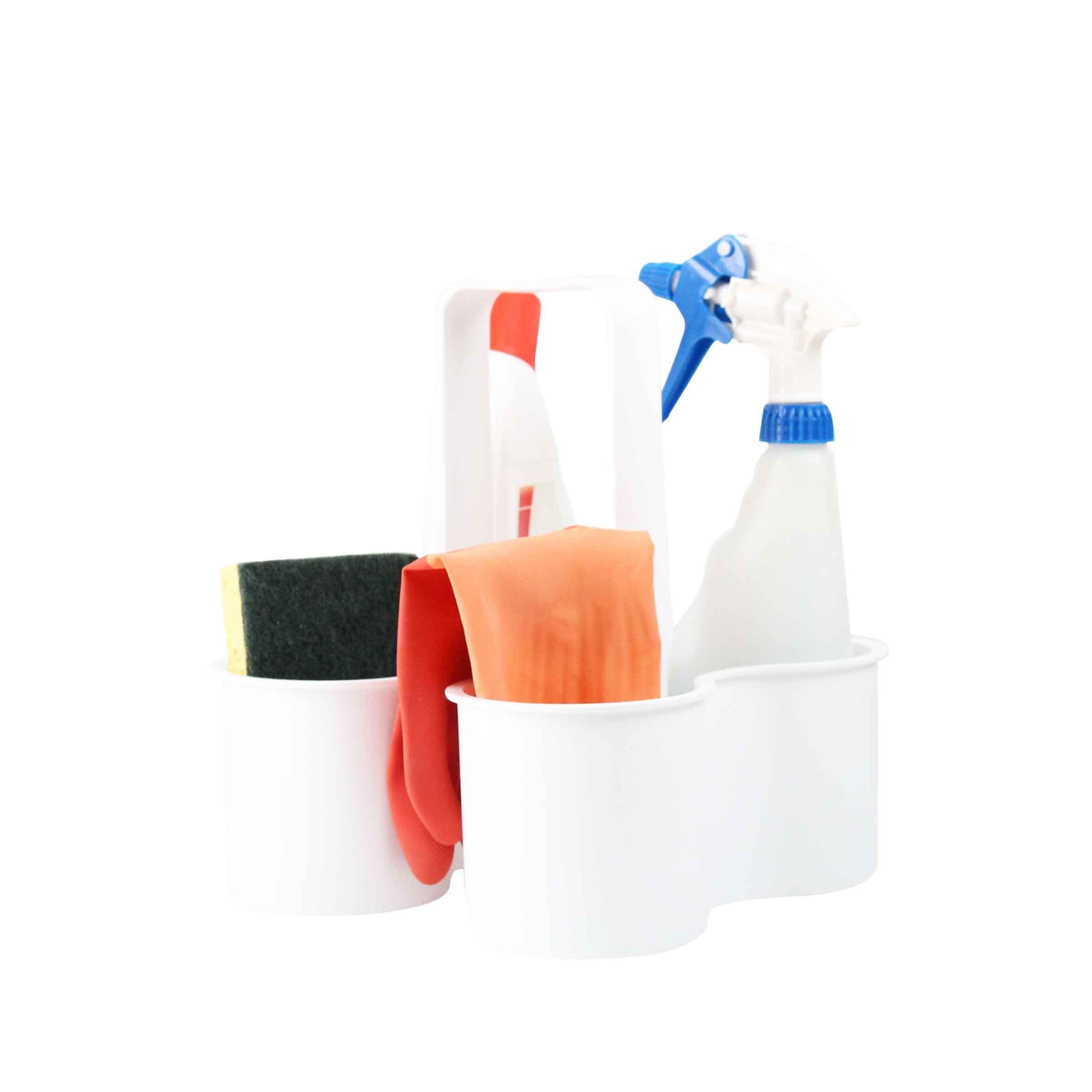 Panier compartimenté en plastique blanc pour produits d'entretien