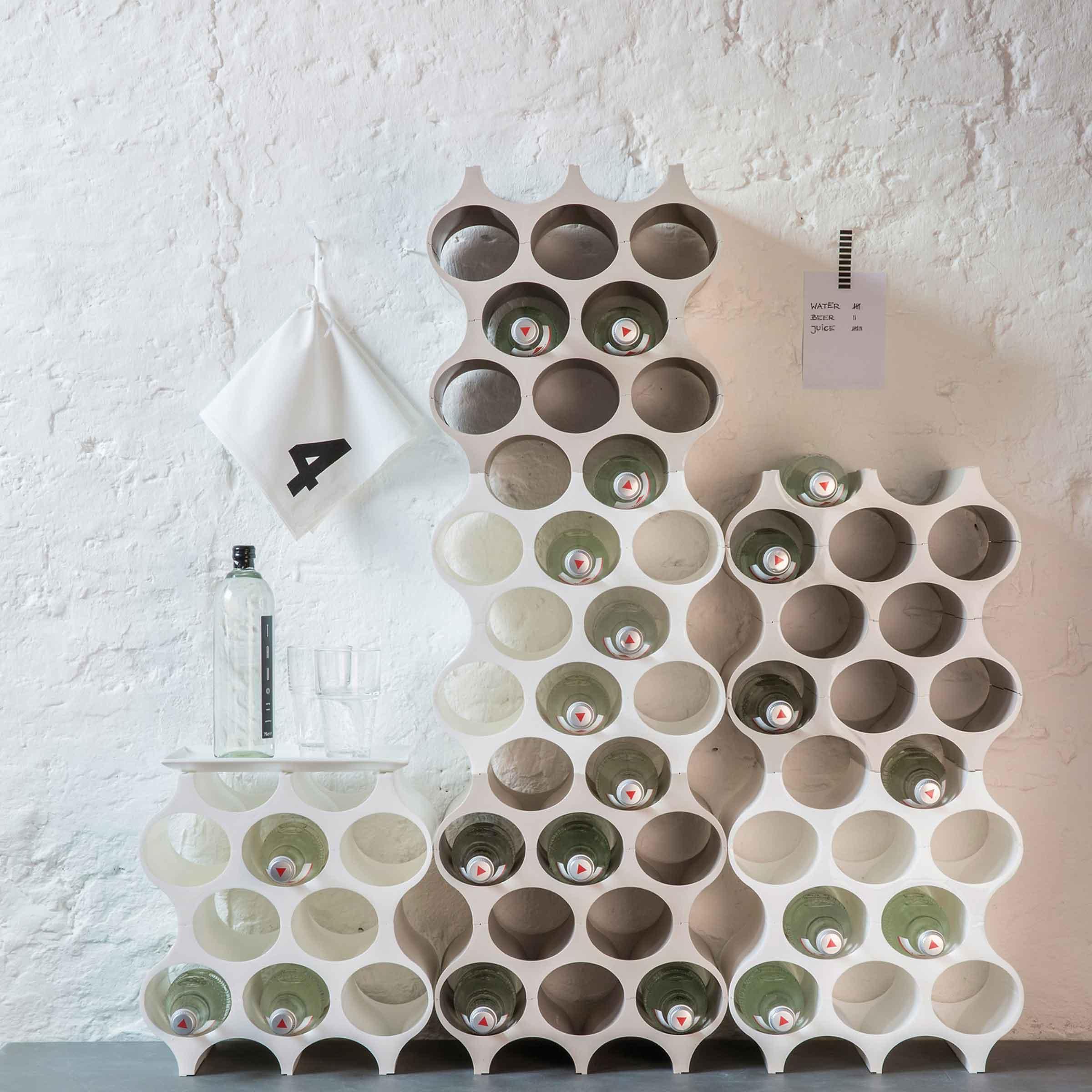 Casier pour 10 bouteilles en plastique blanc