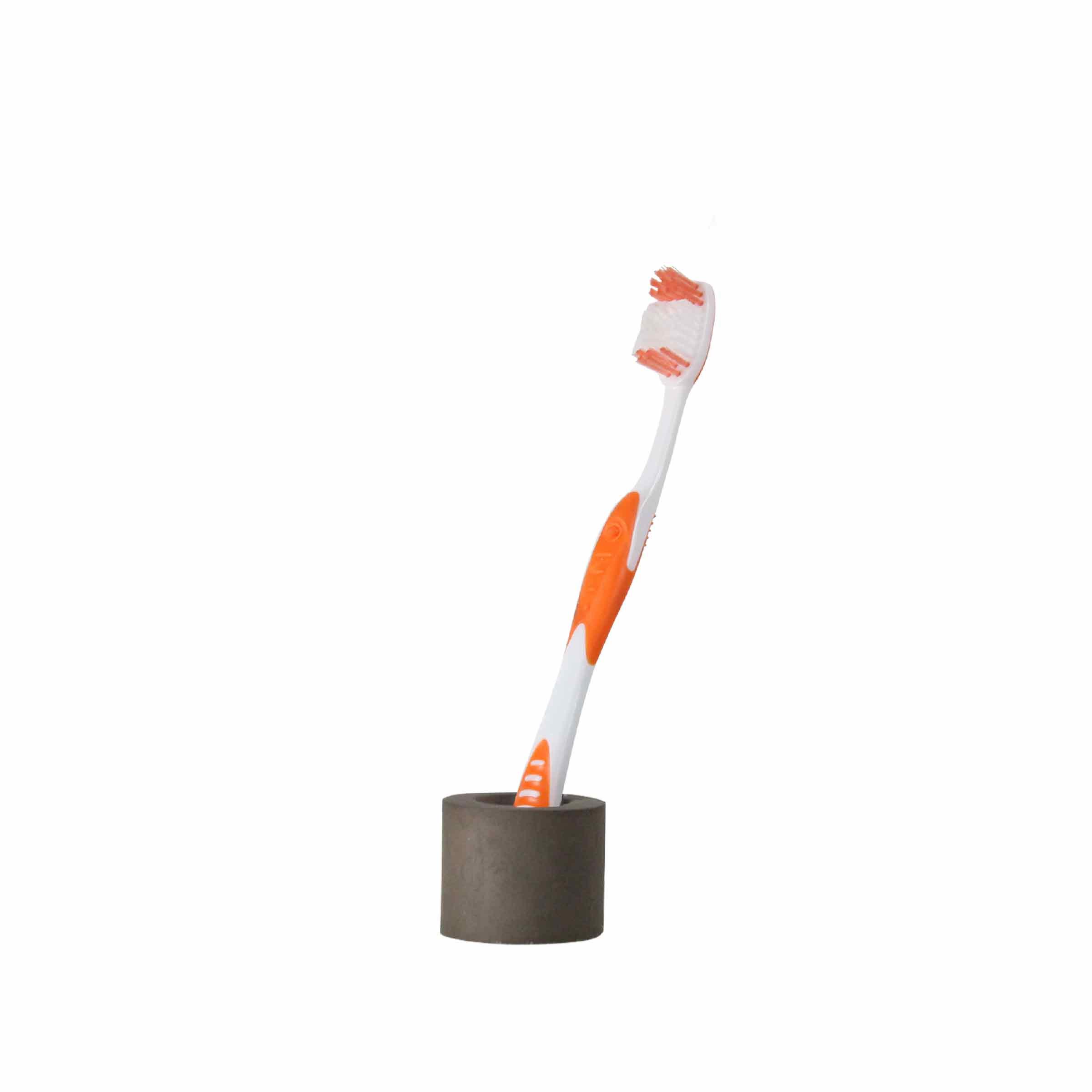 Porte 1 brosse à dents en résine gris taupe