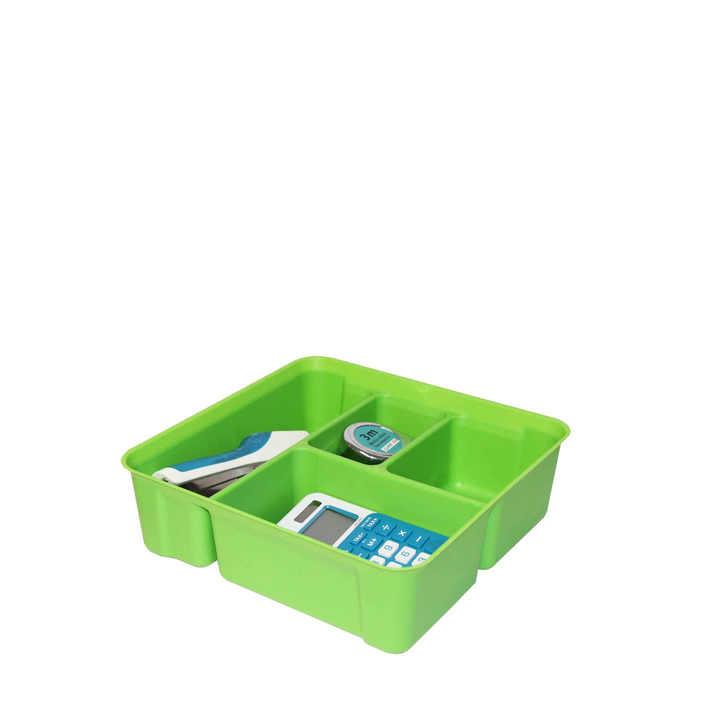 Boîte en plastique vert sans couvercle à compartiments
