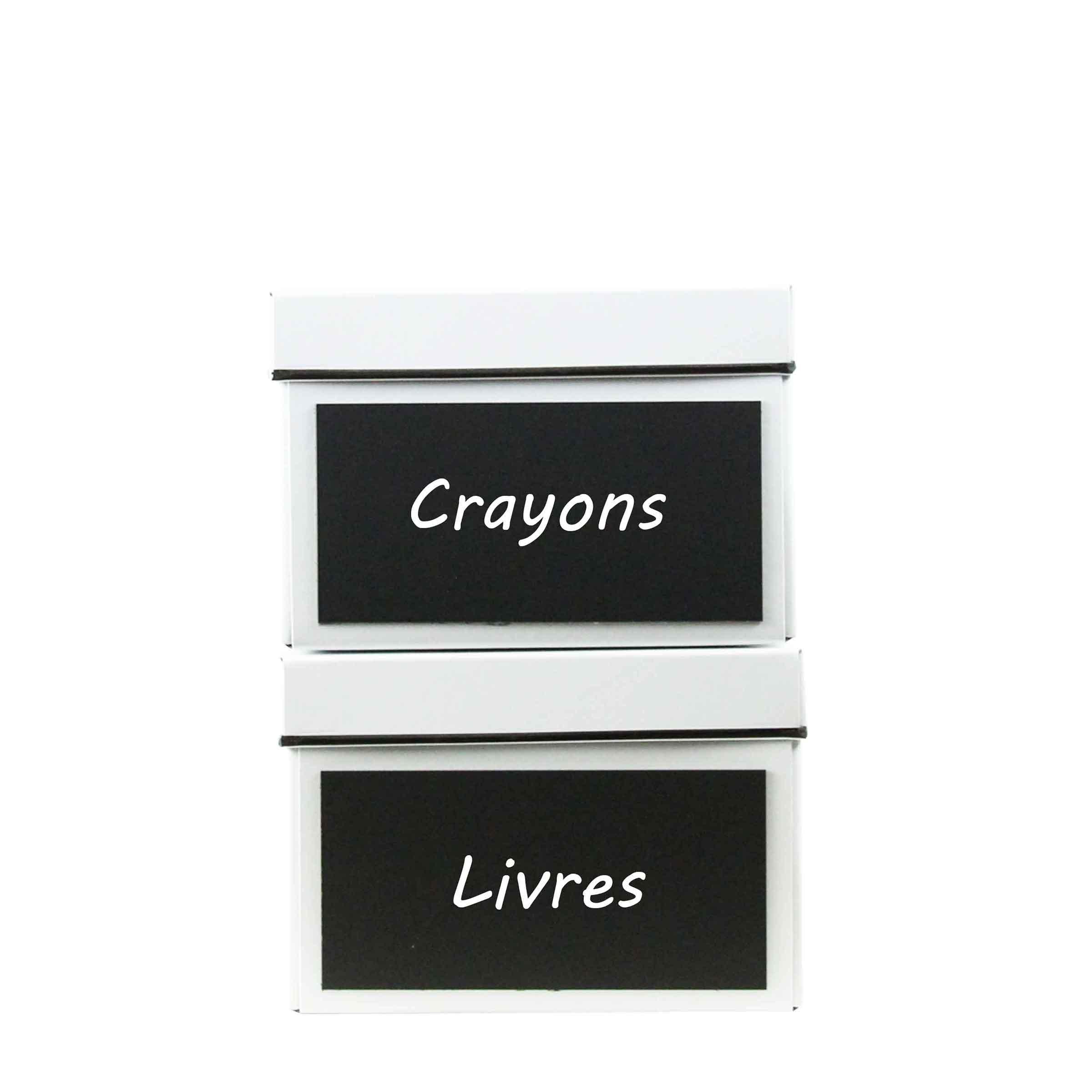 2 boîtes de rangement en carton avec ardoise en façade