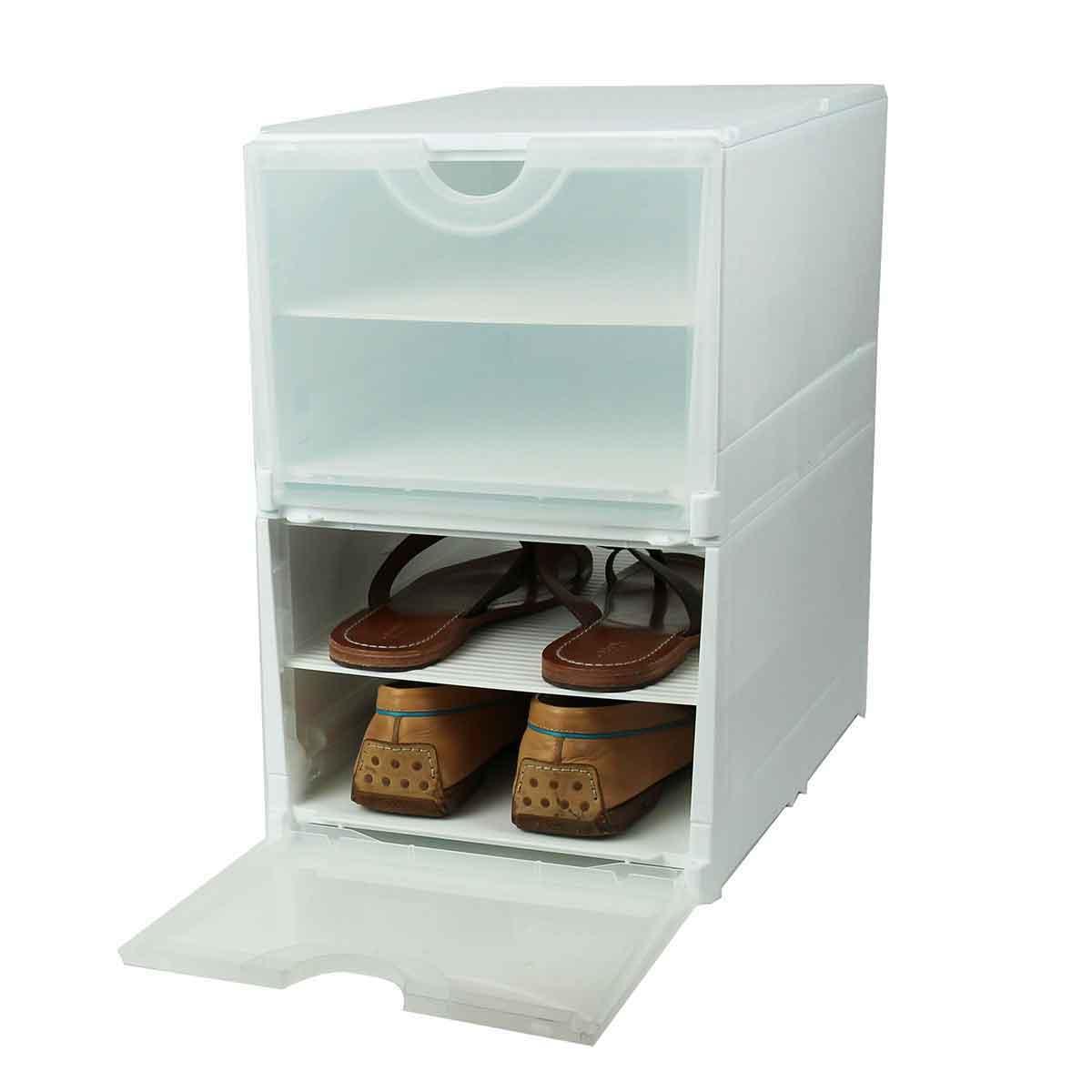 Boîte rangement 4 paires de chaussures - plastique blanc