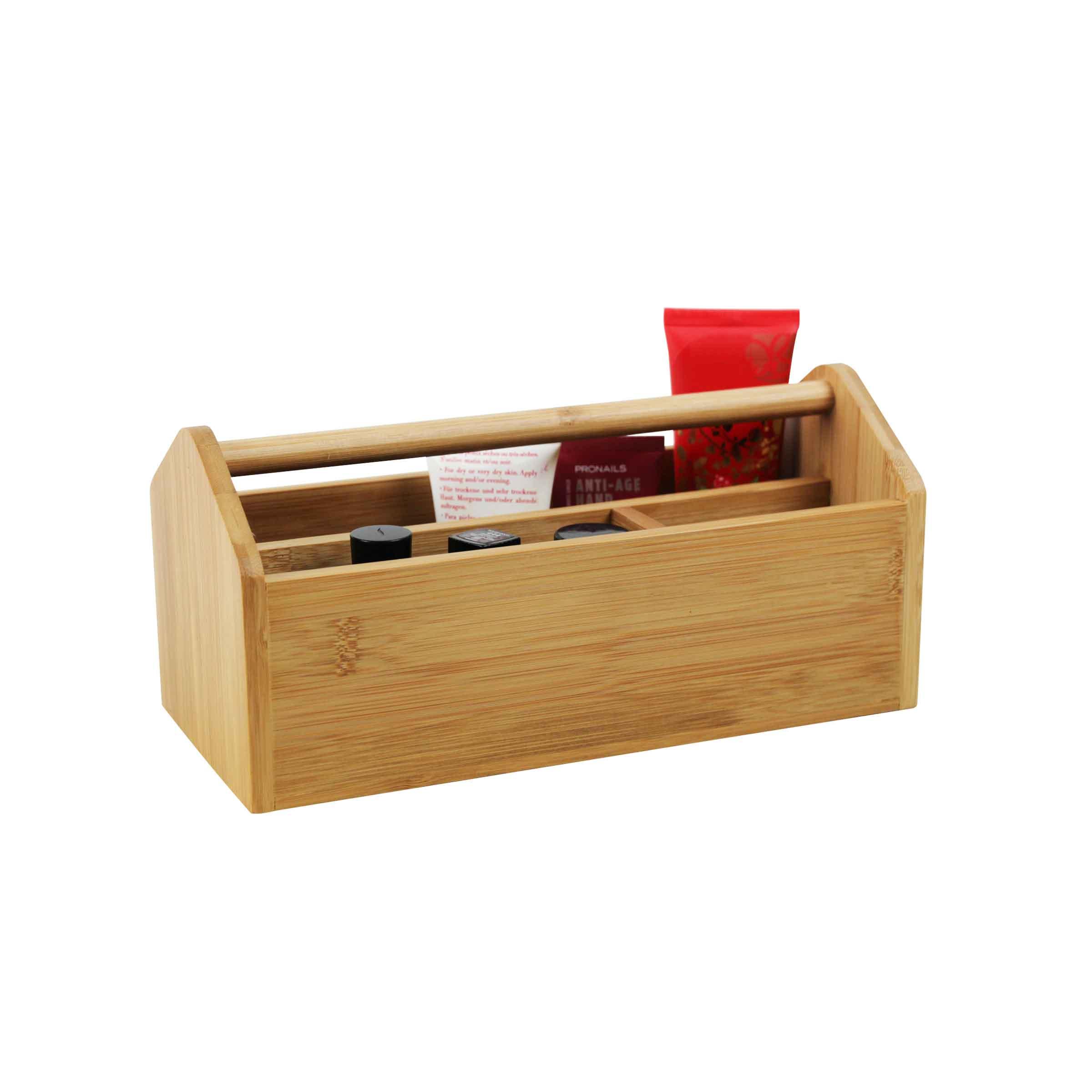 boîte de rangement en bois pour maquillage avec compartiments