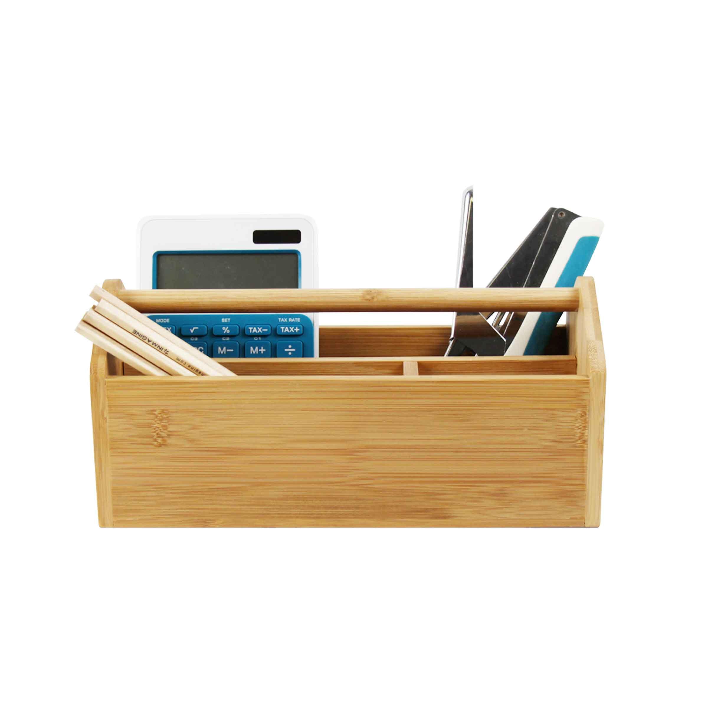 organiseur de bureau en bois de bambou avec 3 compartiments et une poignée centrale