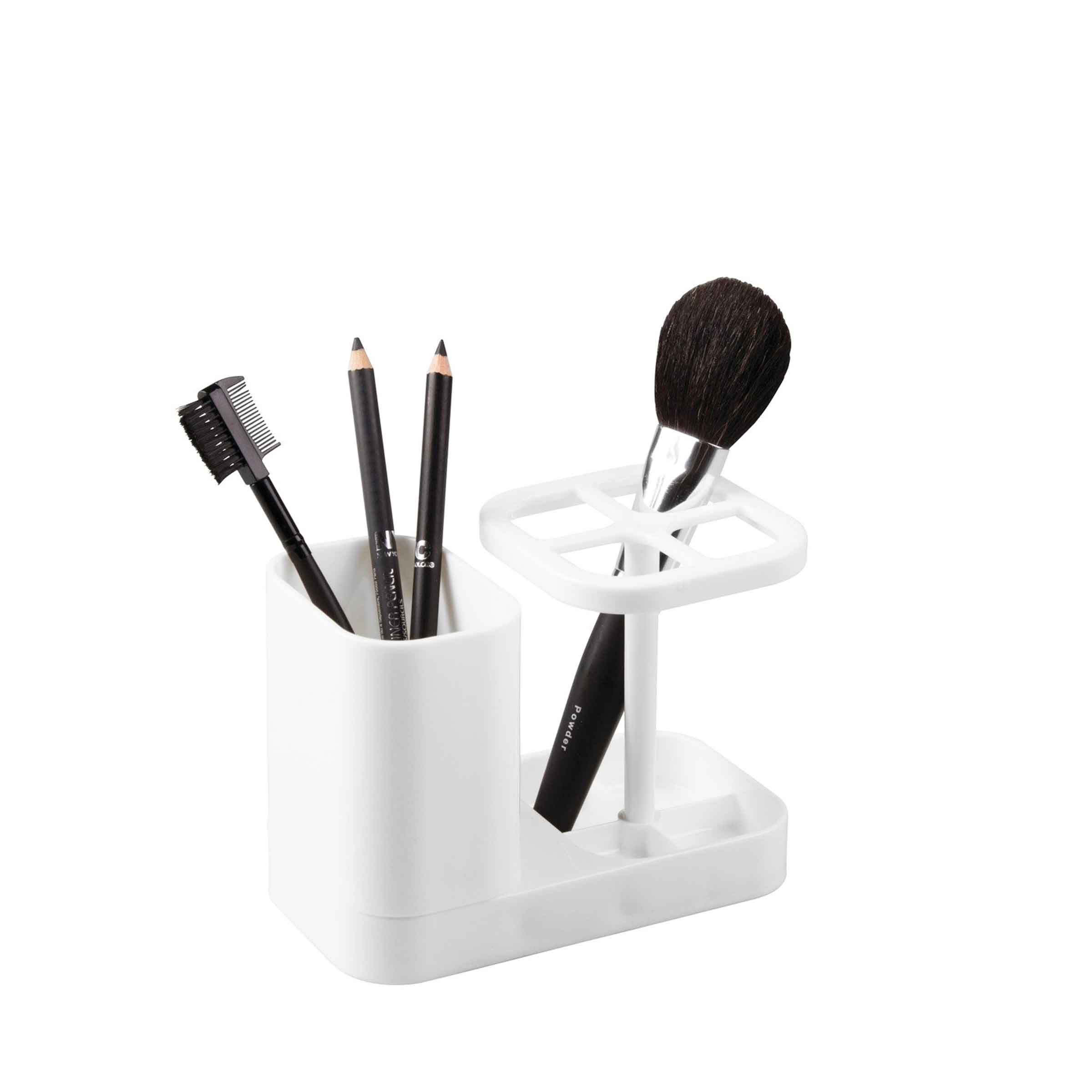 Porte pinceaux de maquillage en plastique blanc