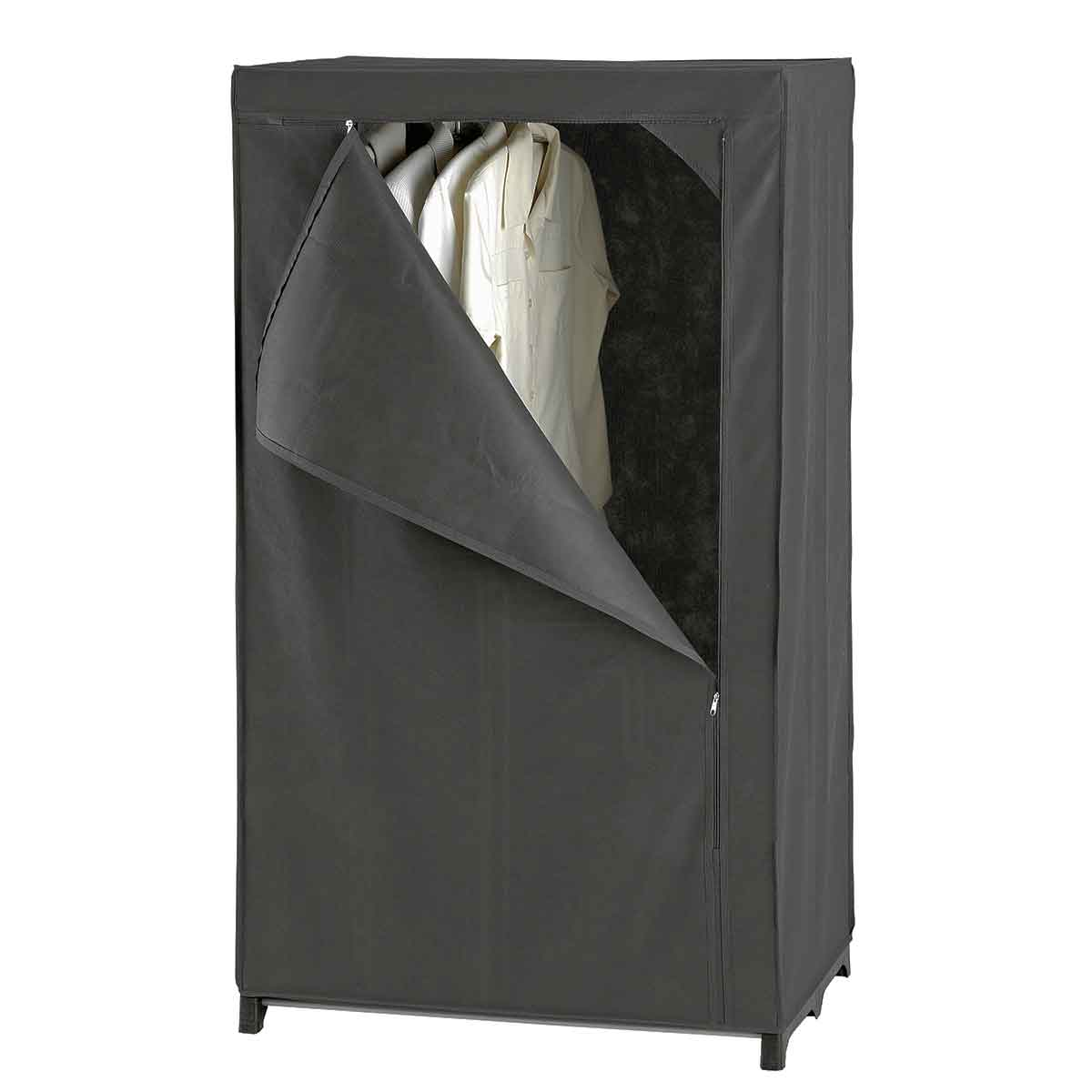 armoire penderie en tissu gris dressing rangement v tements. Black Bedroom Furniture Sets. Home Design Ideas