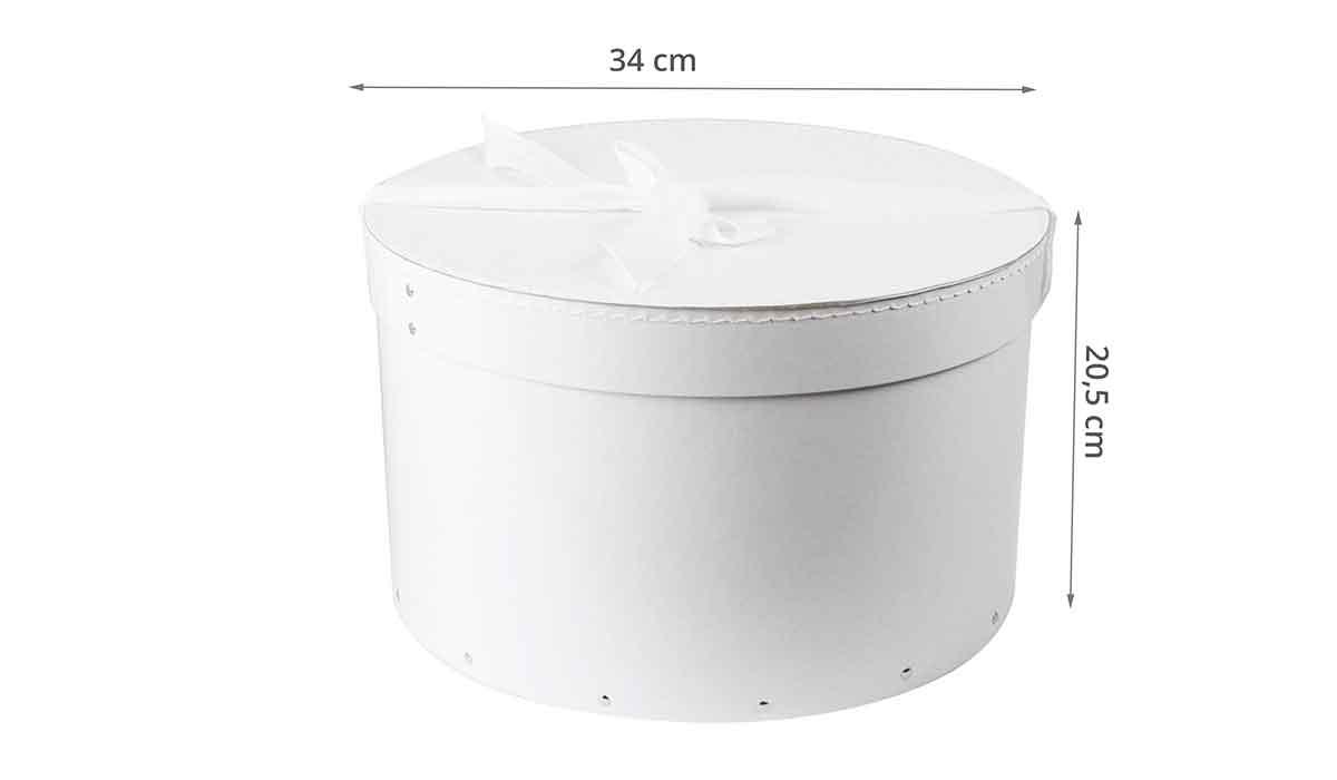 Dimensions de la boîte à chapeaux en carton blanc