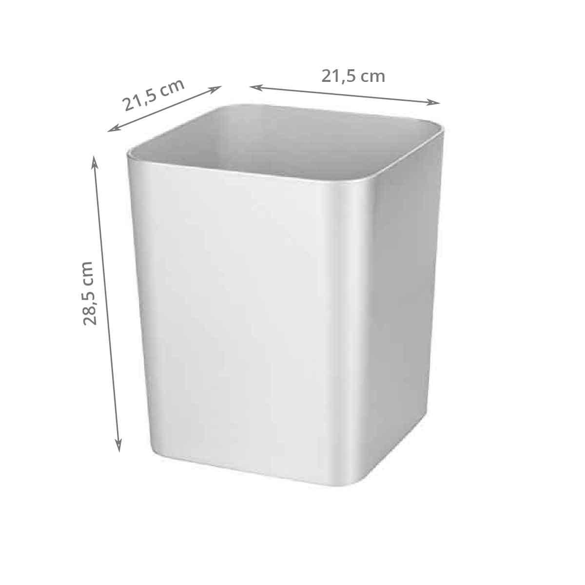 Poubelle de salle de bain gris argent 10 litres - Petite poubelle de salle de bain ...