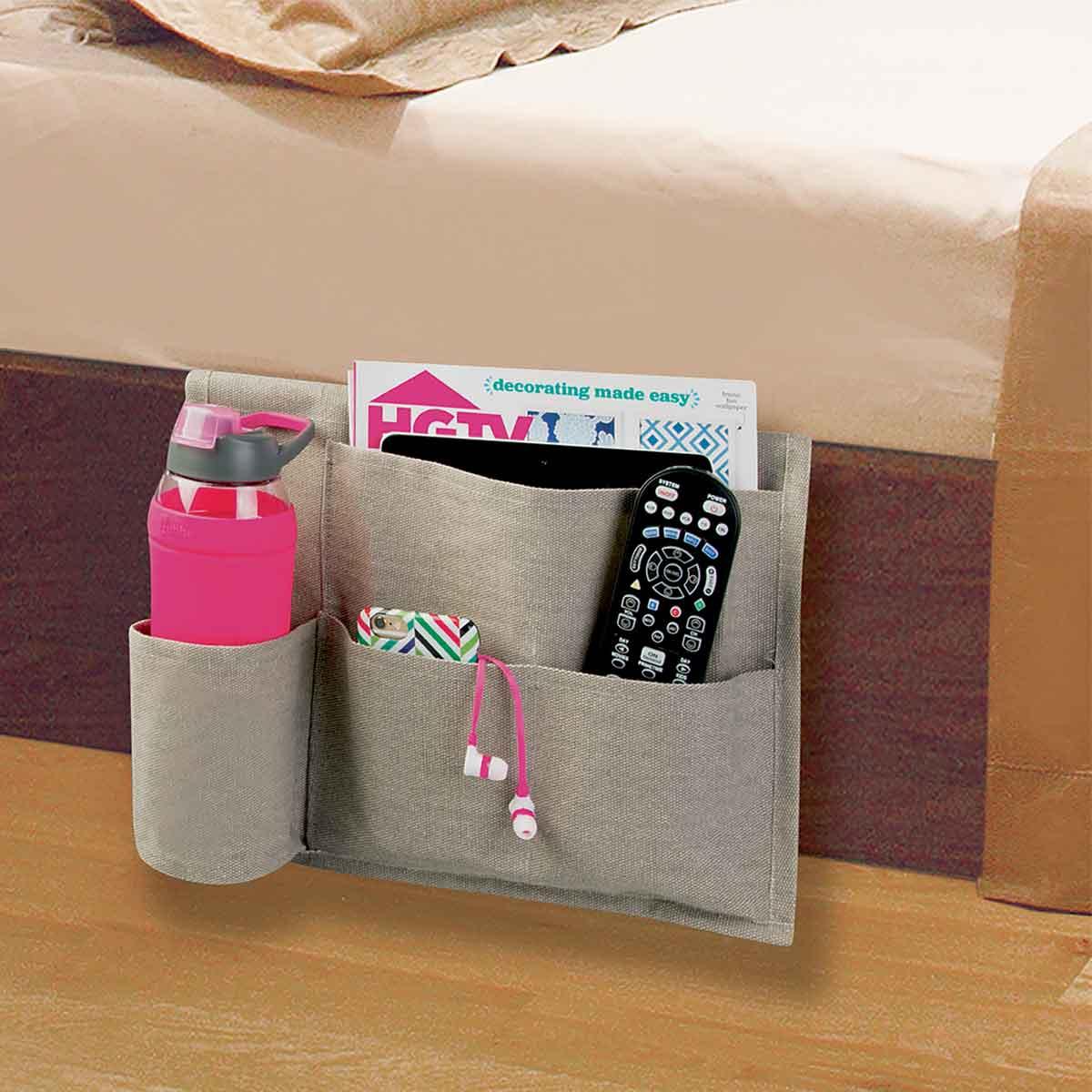 Poche de rangement pour lit en tissu avec support en métal