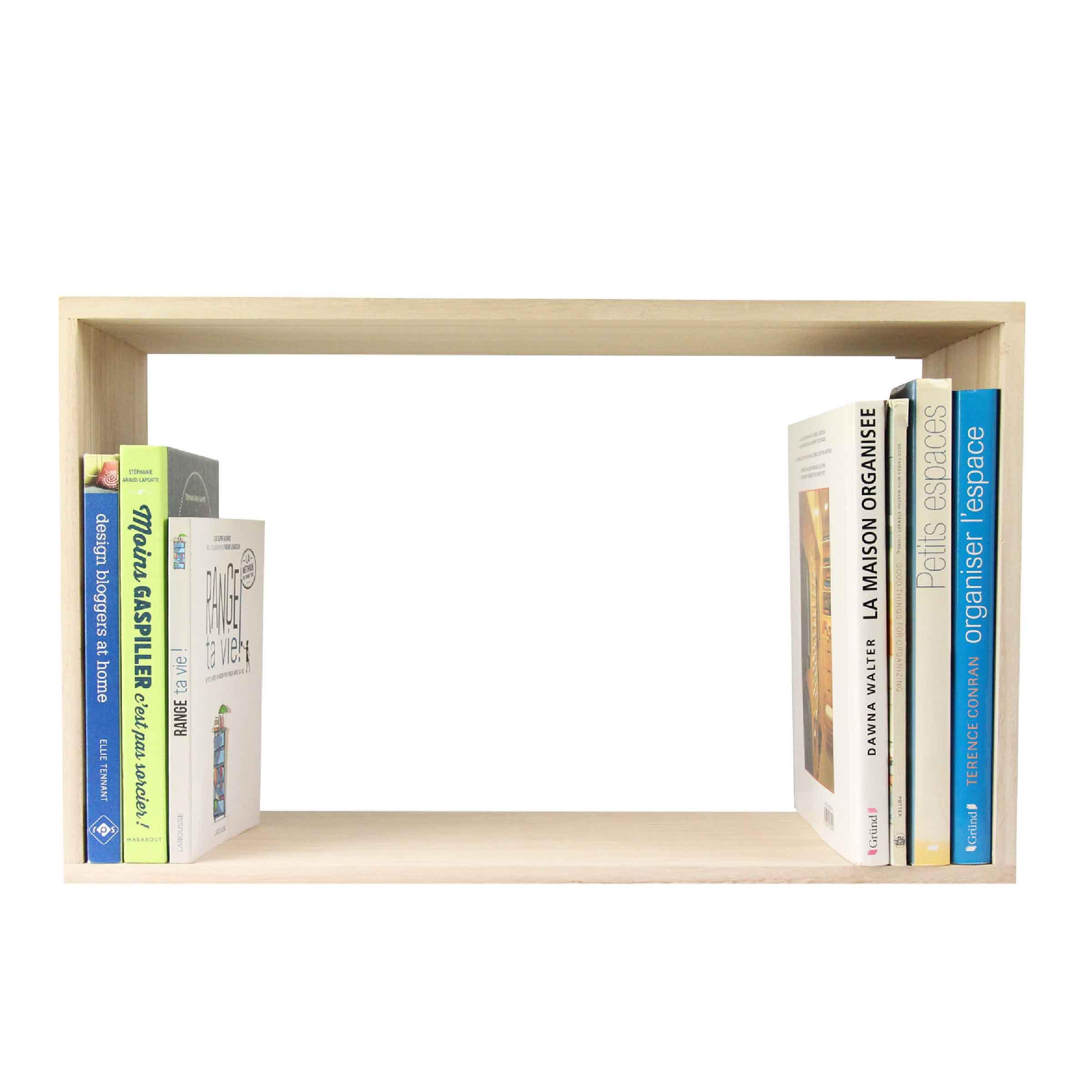étagère murale rectangulaire en bois clair taille L