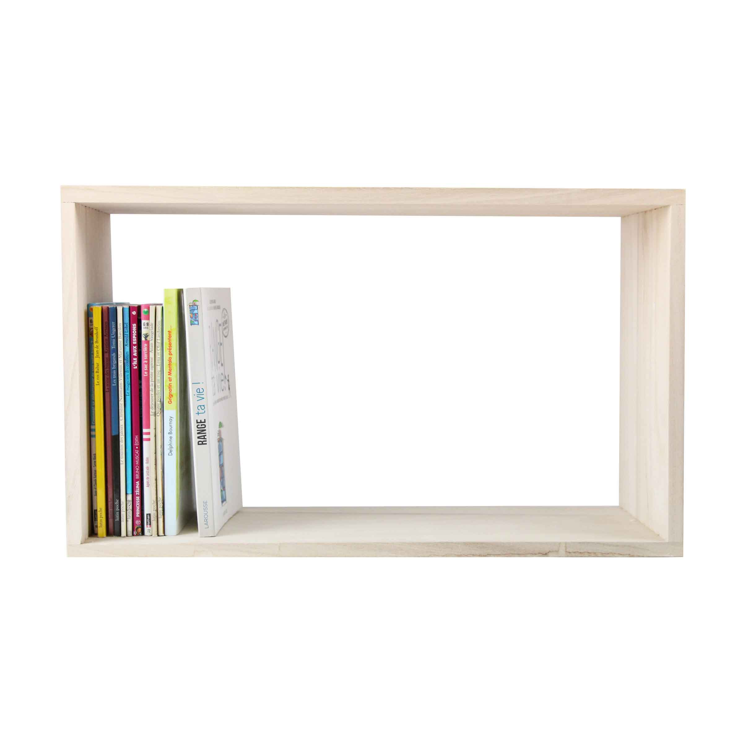 Etag re murale en bois naturel rectangulaire for Etagere murale bois brut