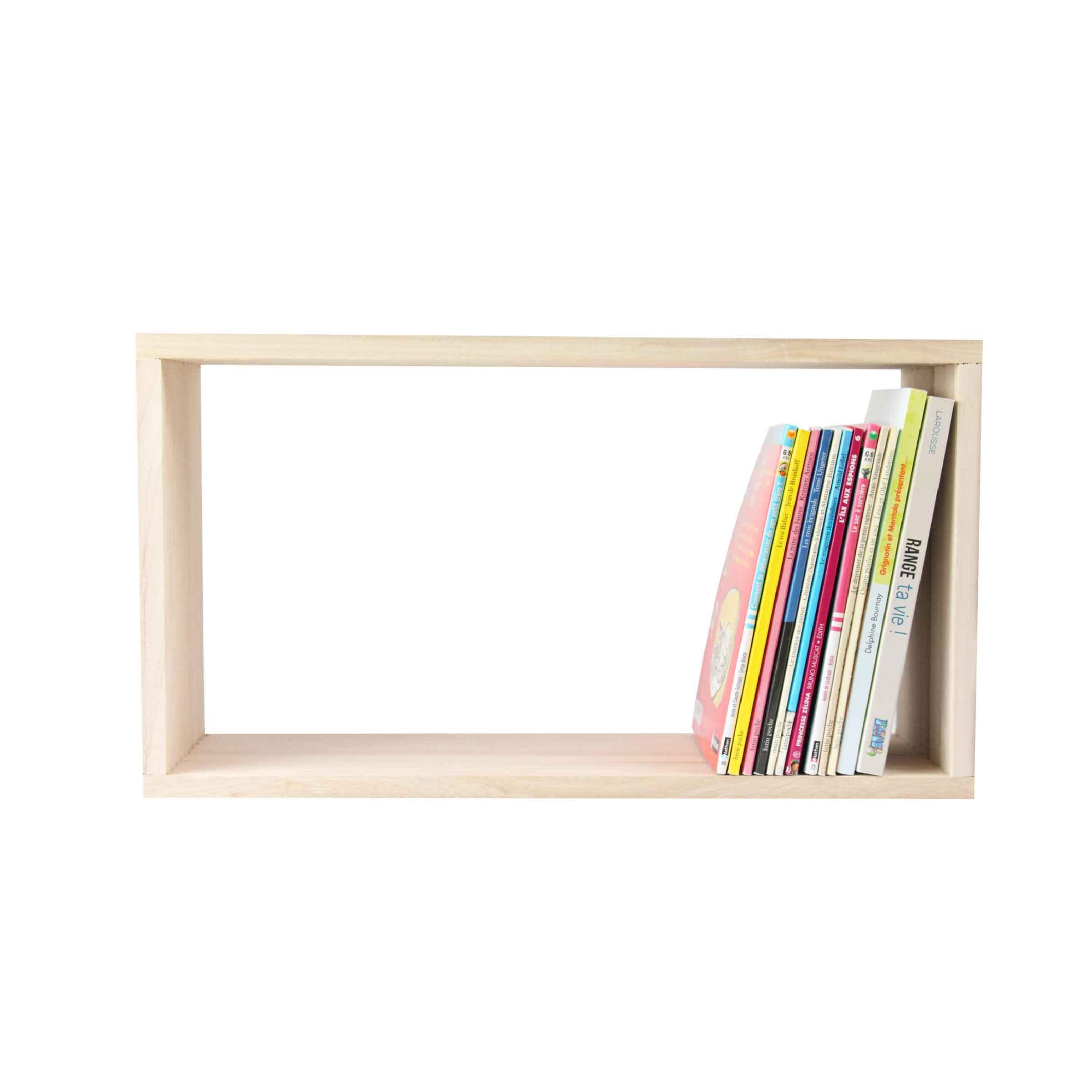 Petit mobilier de rangement rectangulaire mural en bois clair taille S