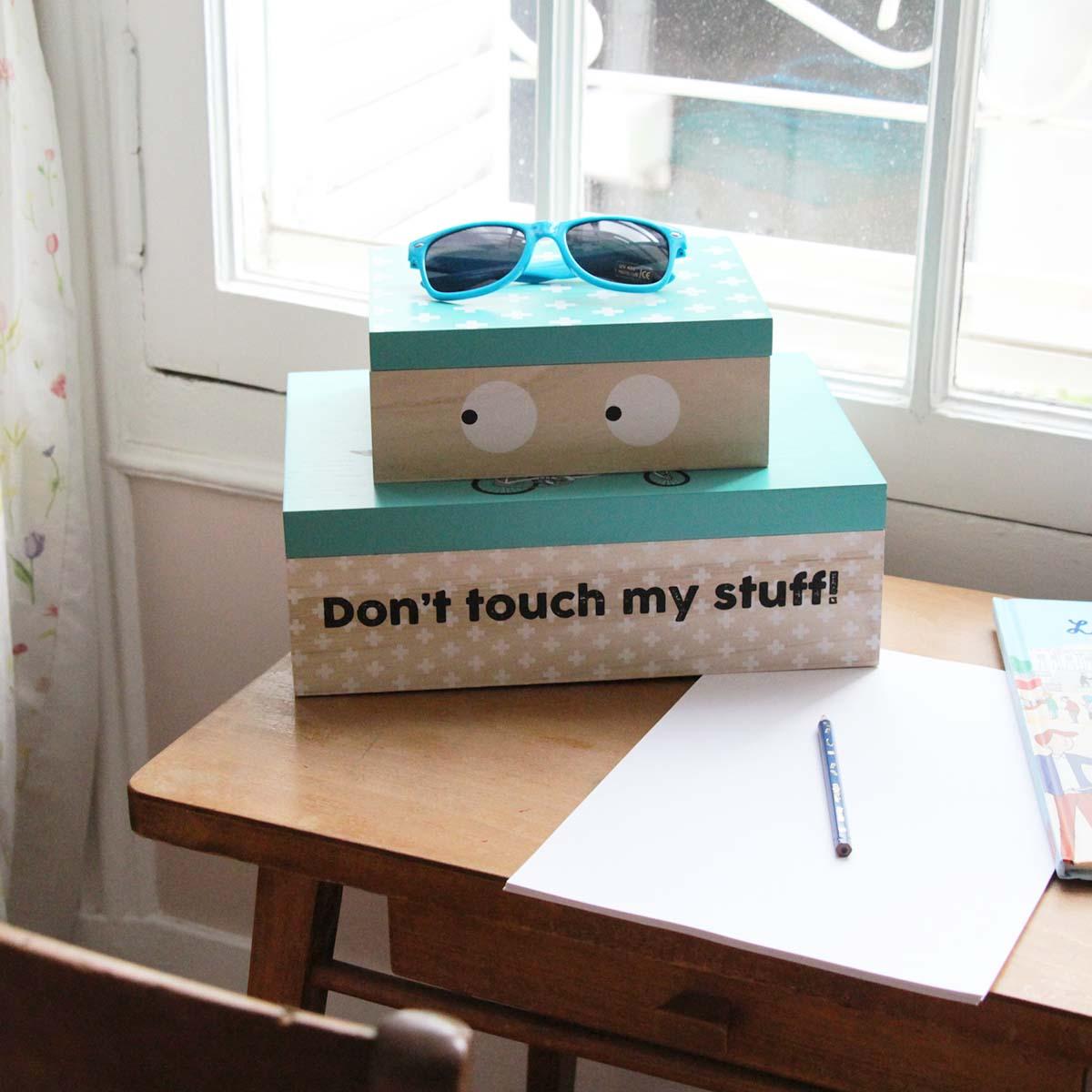 boîte à bazar en bois taille L avec message