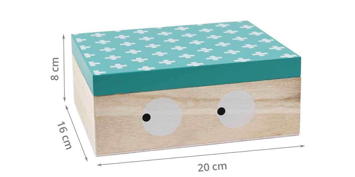 Dimensions de la boîte pour enfant avec les yeux